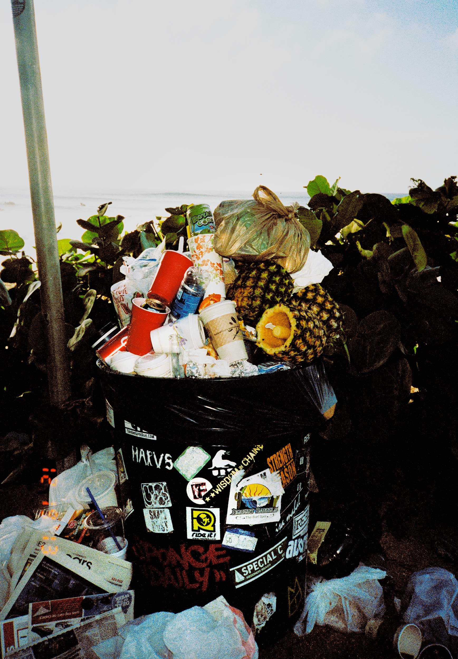 Trash can on Oahu's North Shore, Hawaii.