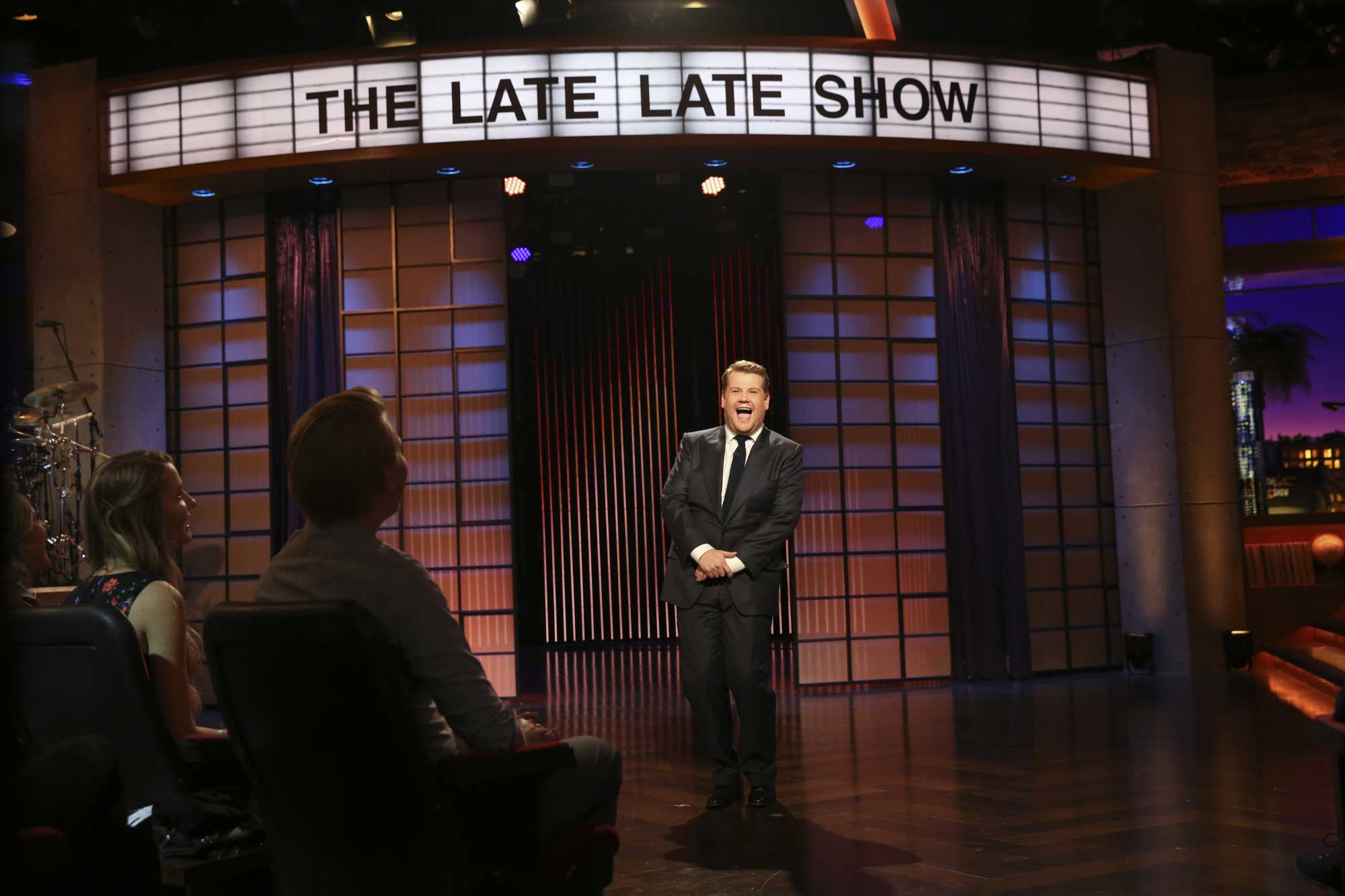 James Corden steps on stage for the first episode of  The Late Late Show with James Corden,  in Los Angeles on March 23, 2015.