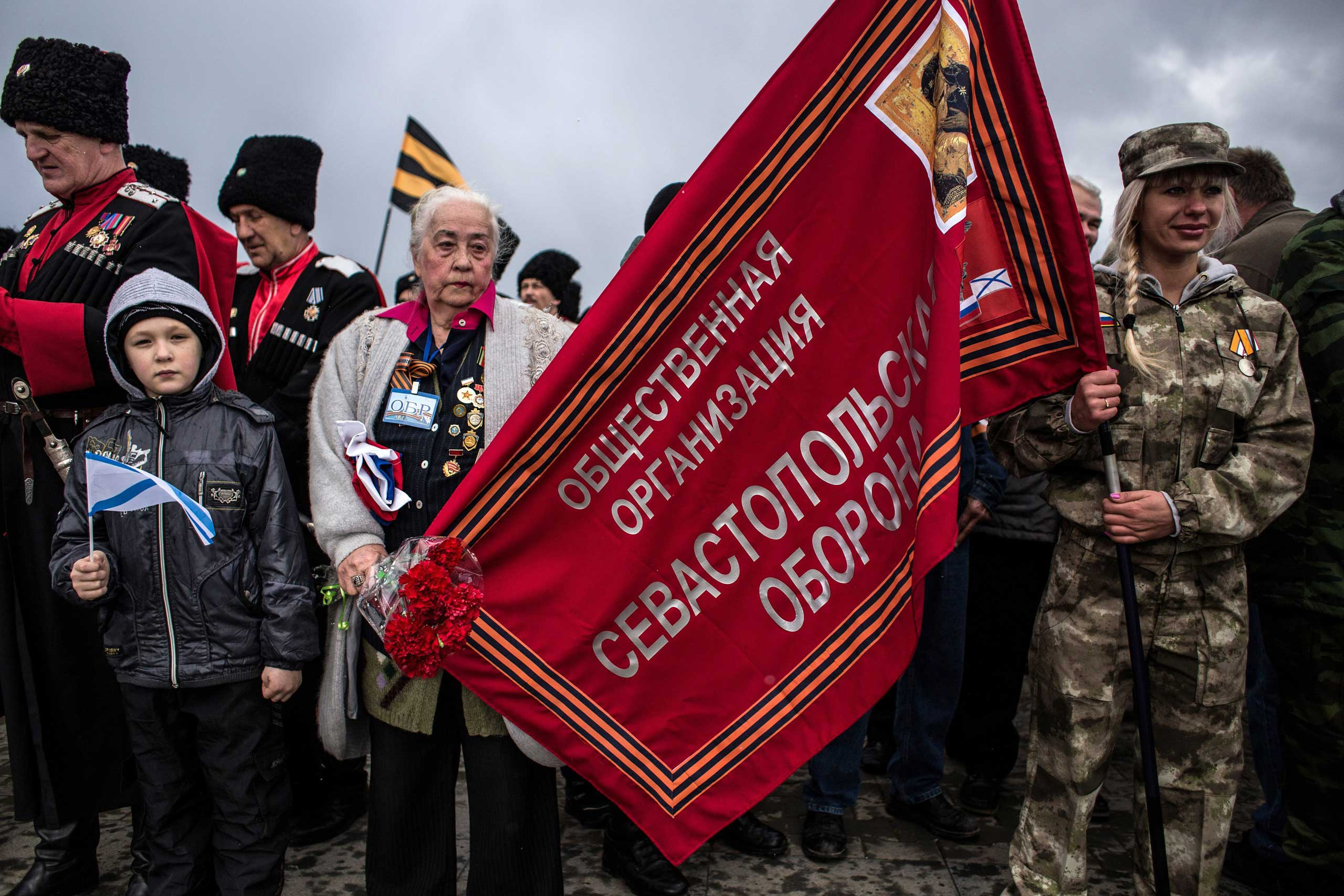 People celebrate the annexation in Sevastopol, March 18, 2015.