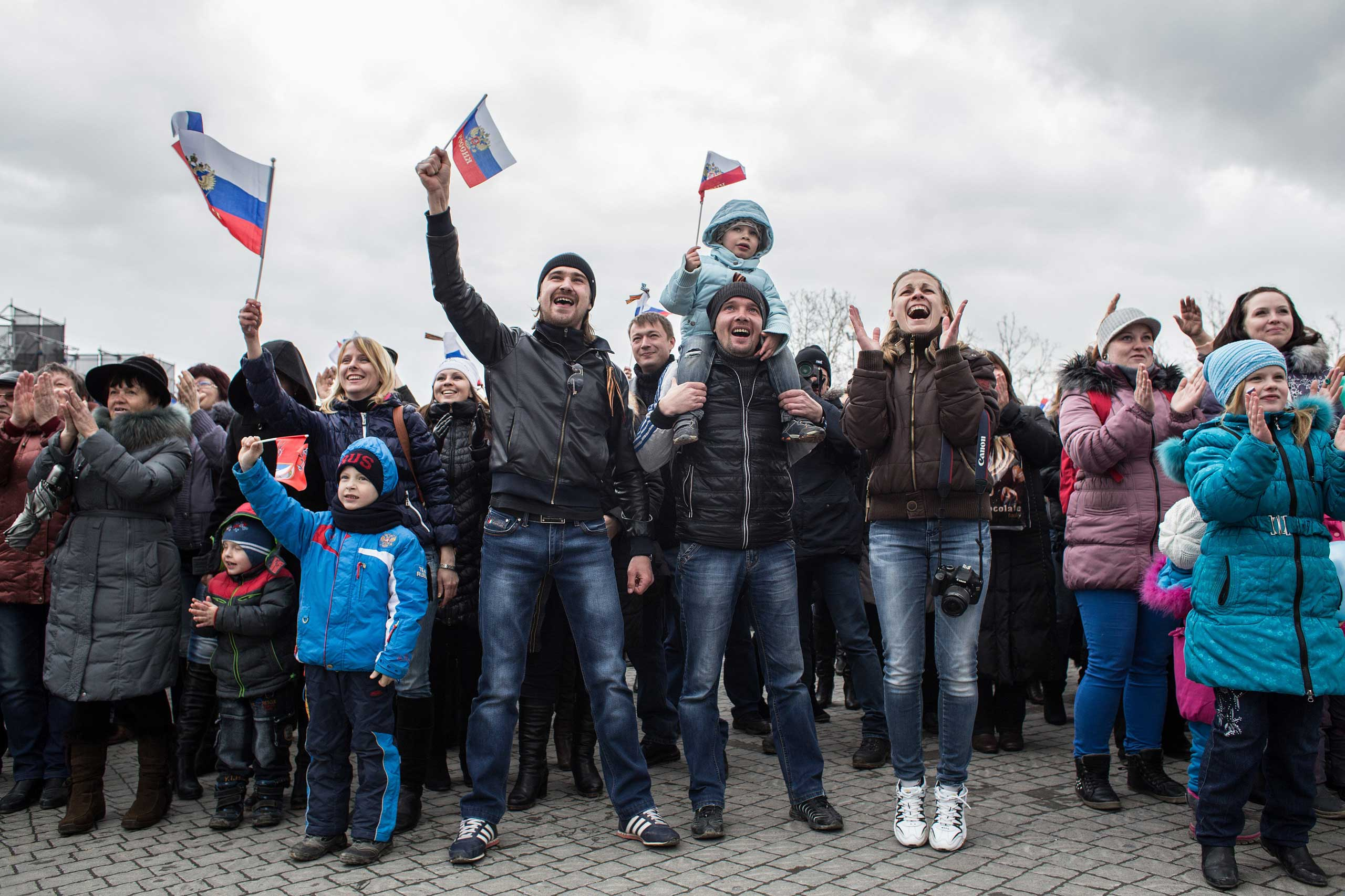People celebrate the first anniversary of the annexation, March 18, 2015 in Sevastopol.