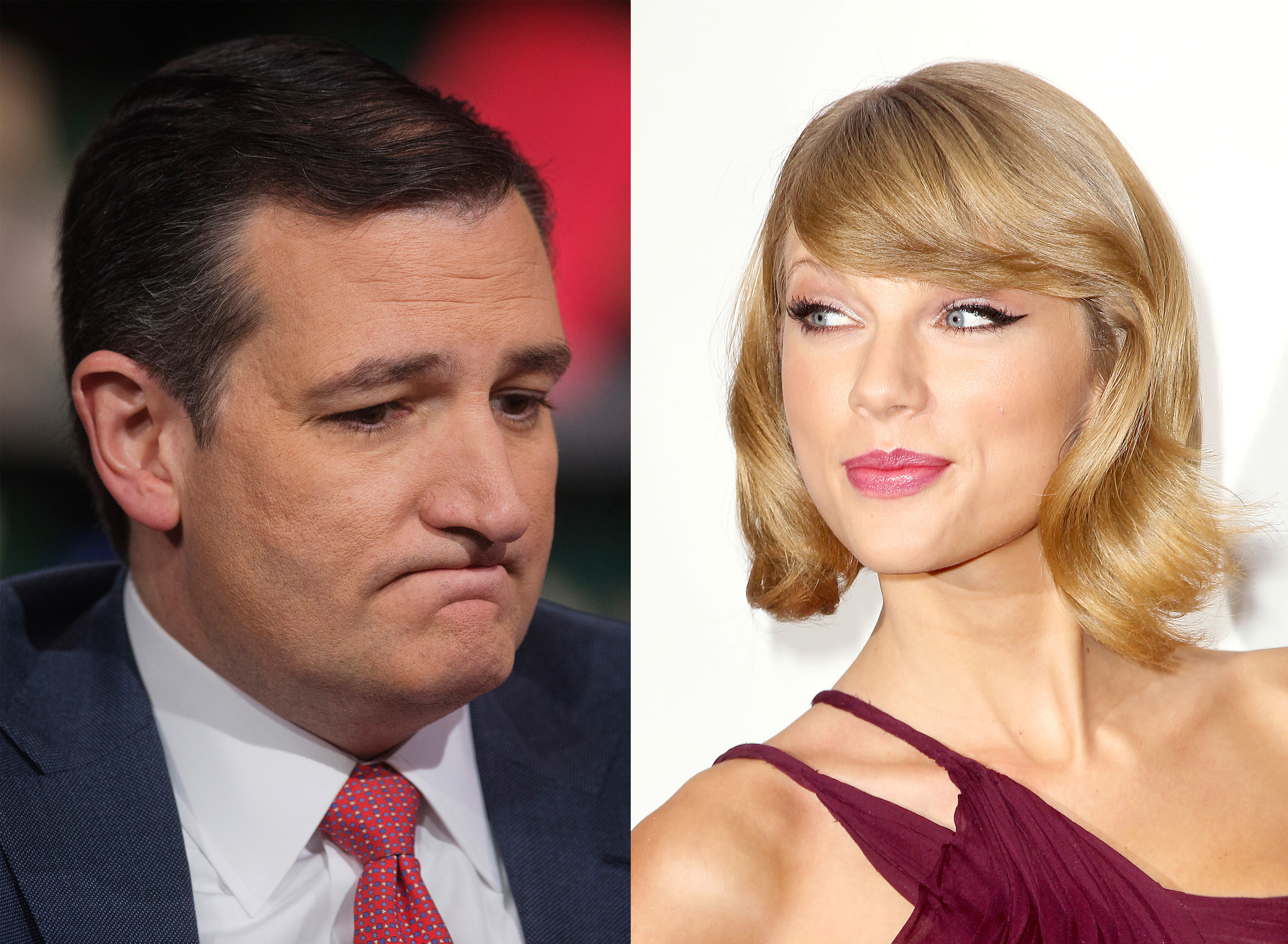 Left: Ted Cruz; right: Taylor Swift