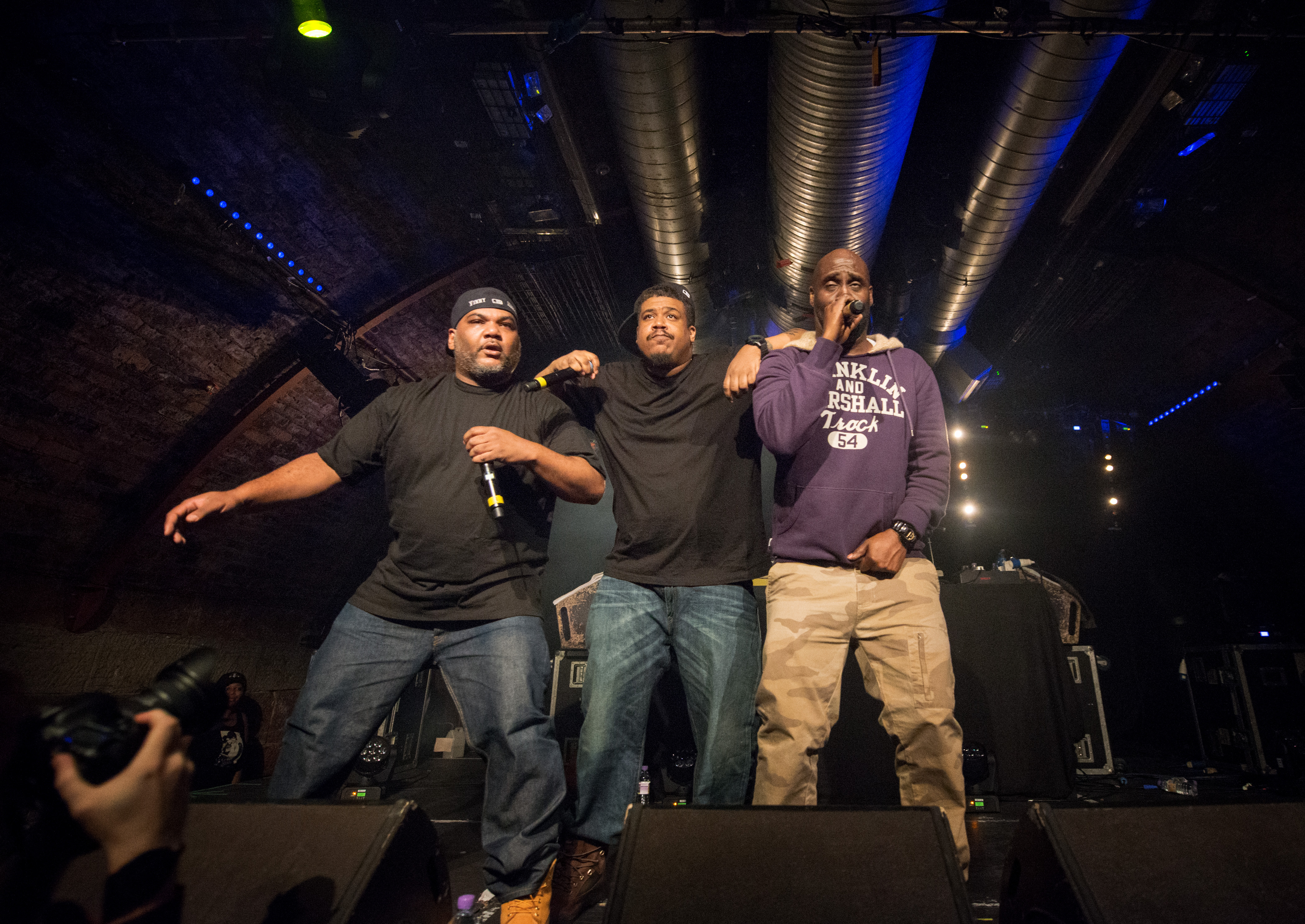 (left-right) Maseo, Trugoy and Posdnuos of De La Soul perform on stage at The Arches in Glasgow, United Kingdom, on May 3, 2014.