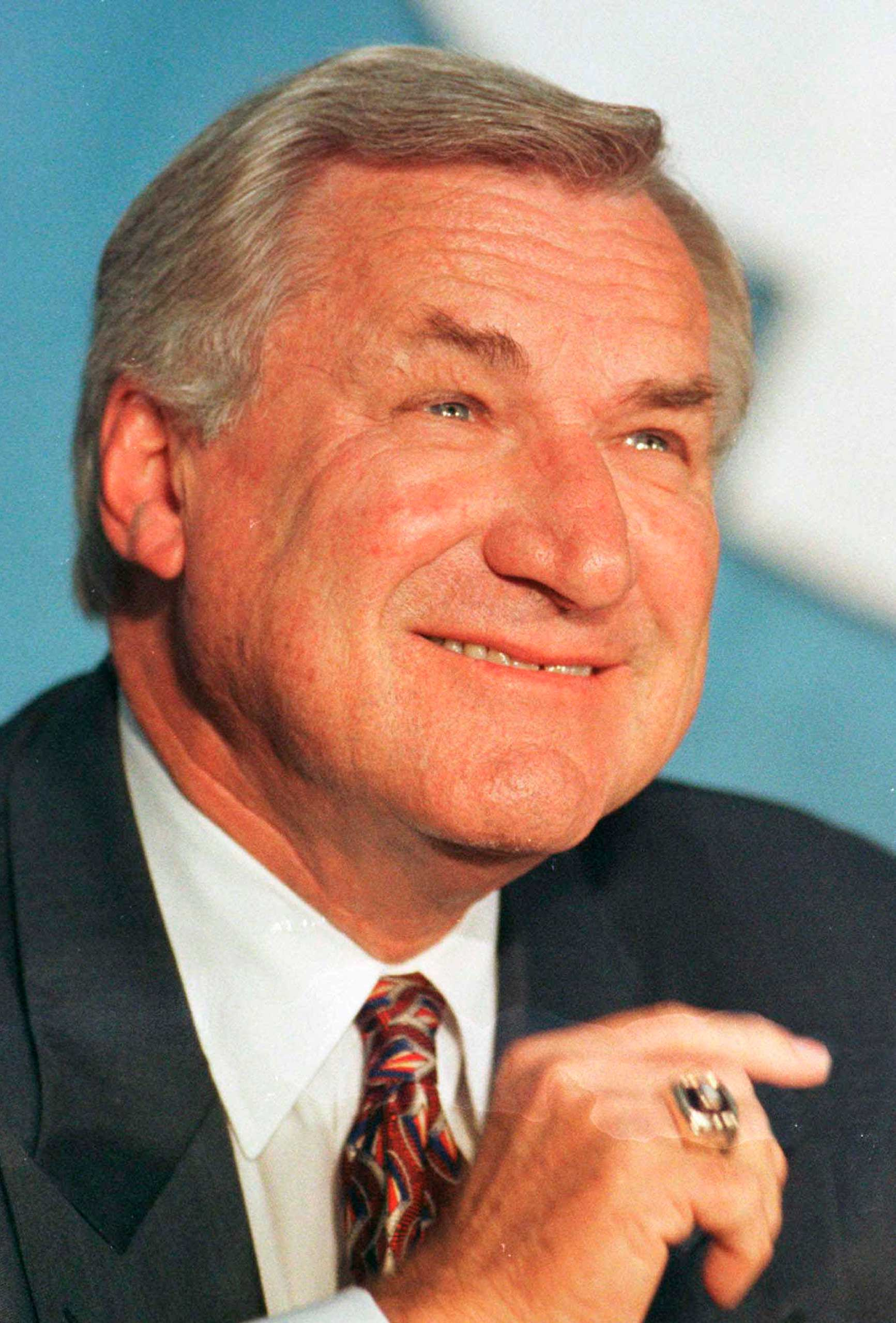 North Carolina basketball coach Dean Smith during a news conference where he announced his retirement, in Chapel Hill, N.C. on Oct. 9, 1997.