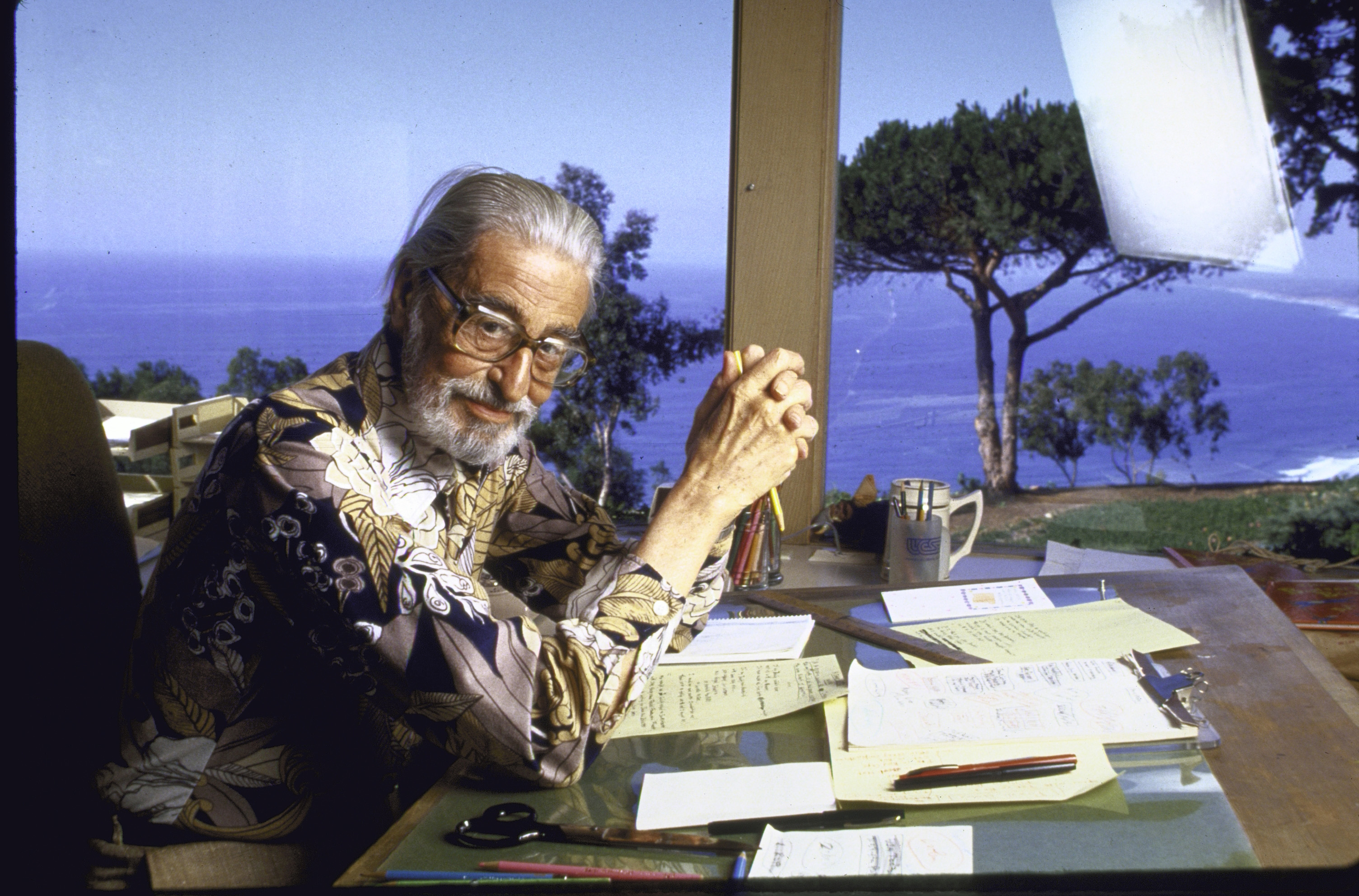 Author Theodore Geisel, or Dr. Seuss, at home in February 1984