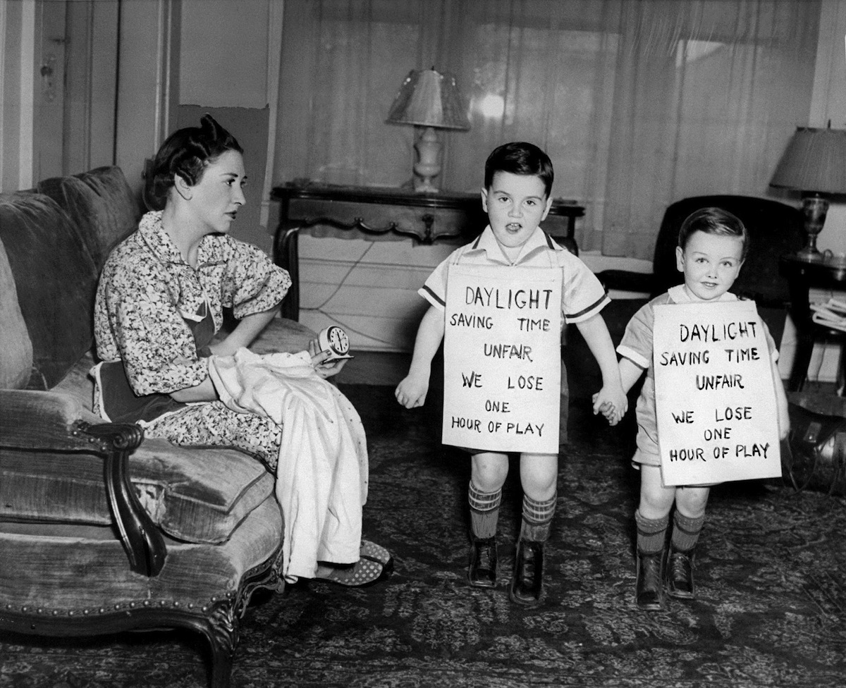 New York children protest daylight saving time in 1939