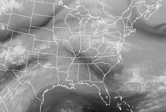 Water vapor map of the eastern U.S. on March 19, 2015.