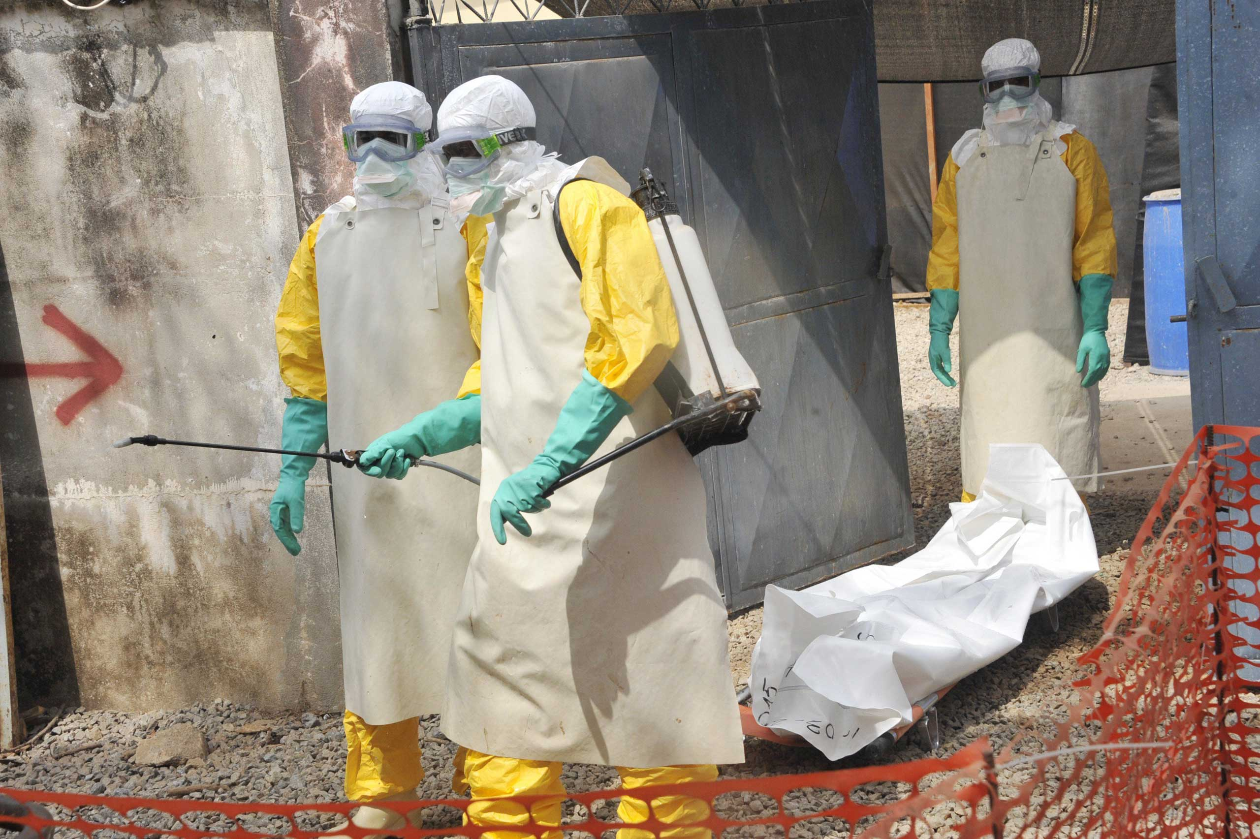 Members of the Guinean Red Cross move the body of a person who died from the Ebola virus on March 8, 2015 at the Donka hospital in Conakry.