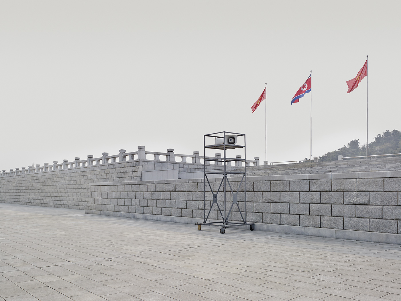 A loudspeaker sits outside the Kumsusan Palace of the Sun, Pyongyang. The building originally functioned as the seat of government under Kim Il Sung (1912-1994) and today acts as his mausoleum for him and his son, Kim Jong Il (1941-2011)