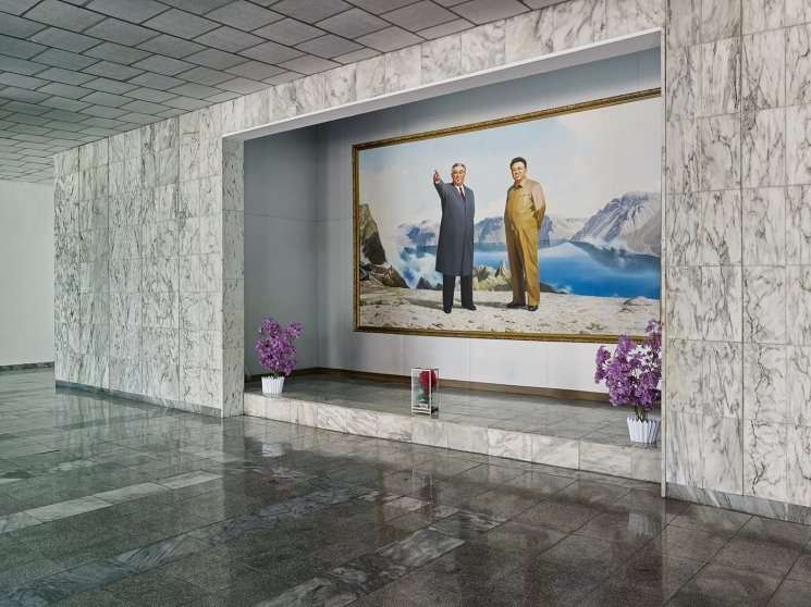 Portrait of the Leaders, Jannamsan Hotel, Kaesong, Pyongyang. There are a number of portraits of the North Korean leaders, featuring specific backdrops or content that have been officially approved and are displayed throughout the country. Artists who have been specially trained in reproducing the image of the leaders create all these portraits at Mansudae Art Studio in Pyongyang