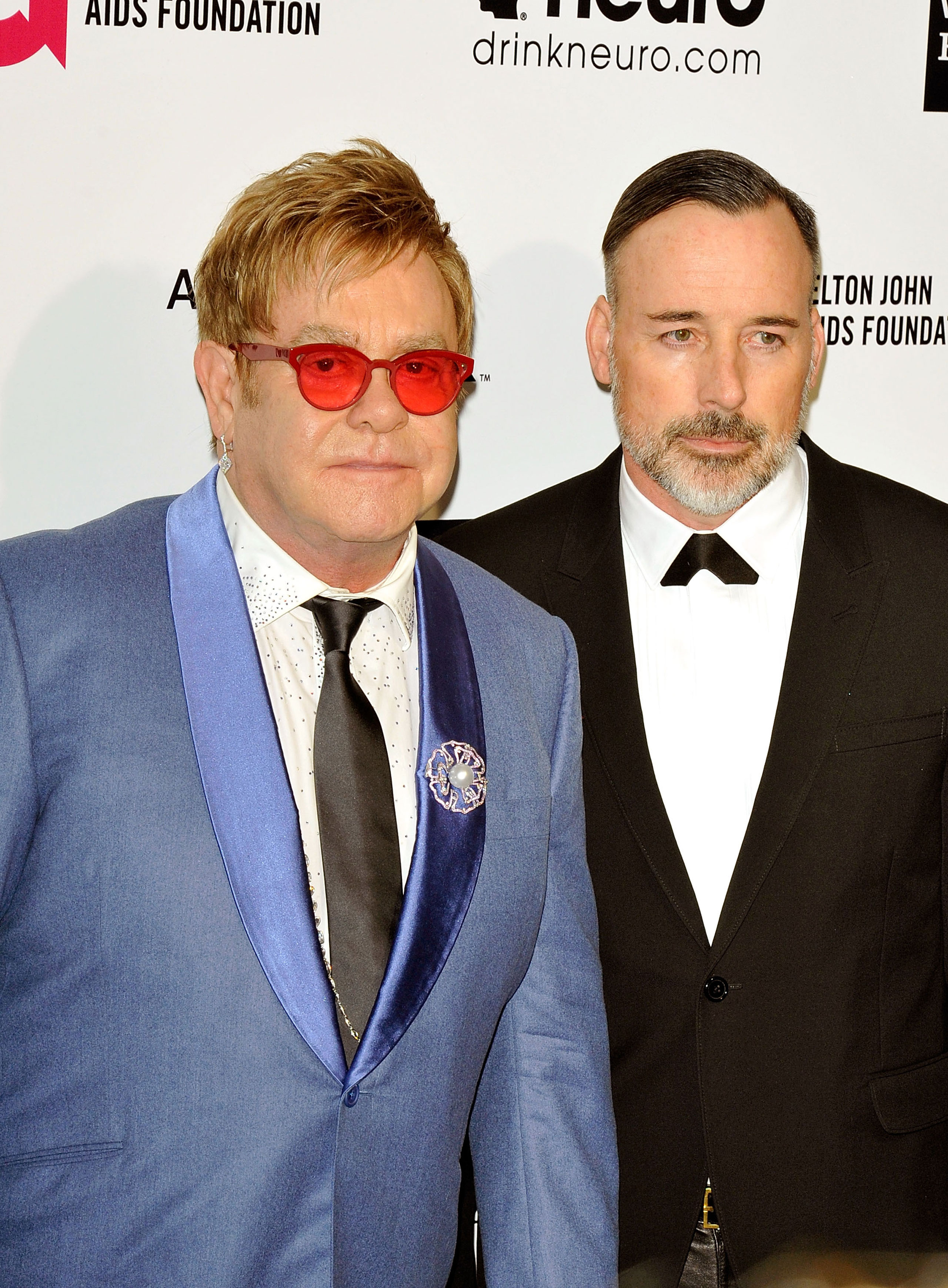 Elton John and David Furnish attend the 23rd Annual Elton John AIDS Foundation's Oscar Viewing Party on Feb. 22, 2015 in Los Angeles.