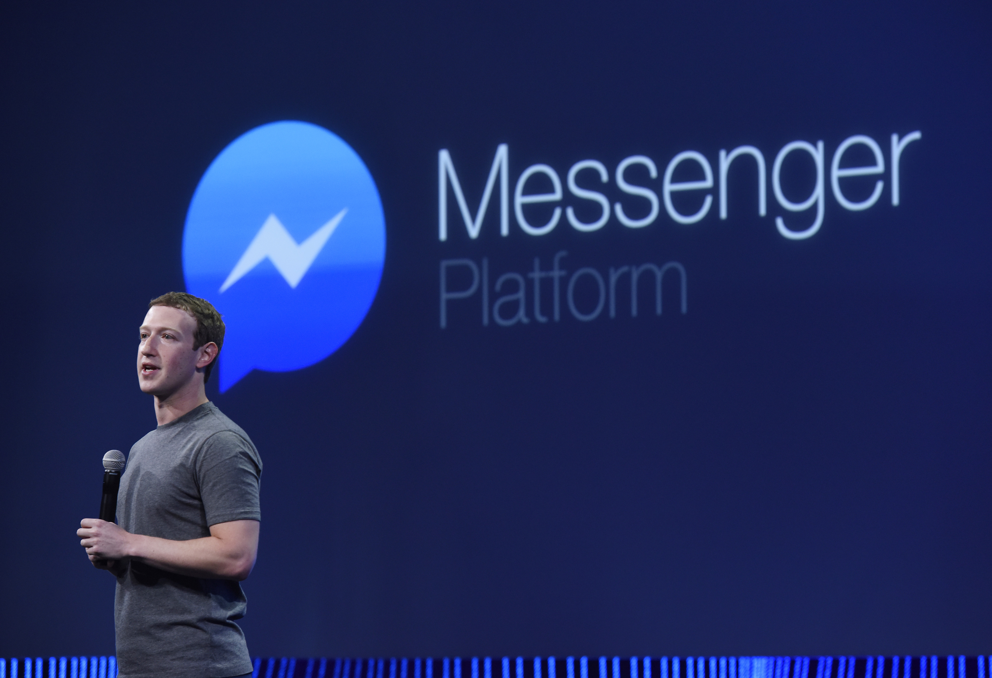 Mark Zuckerberg, CEO of Facebook Inc., speaks during the Facebook F8 Developers Conference in San Francisco, Calif., on March 25, 2015.