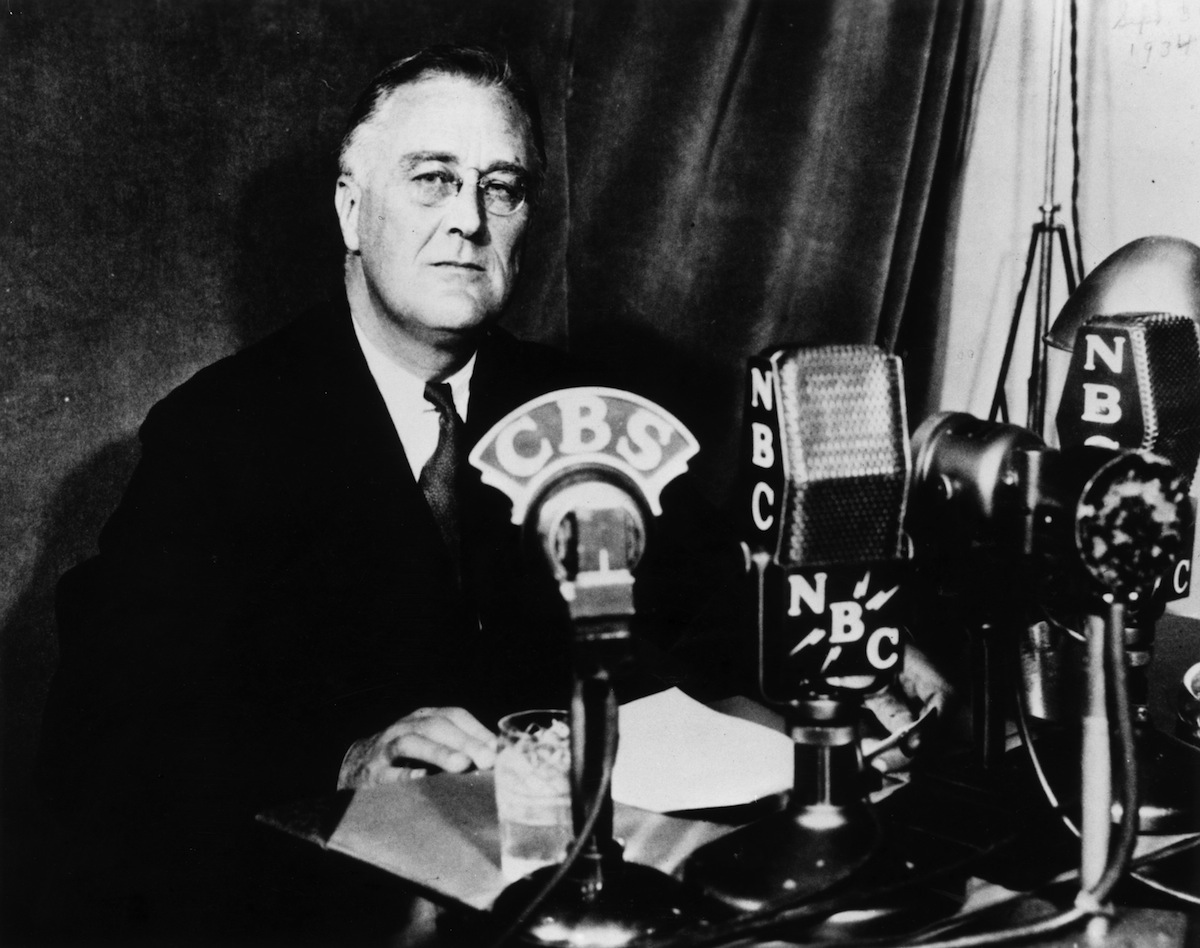 Franklin Delano Roosevelt delivering one of his fireside chats to the nation, circa 1935