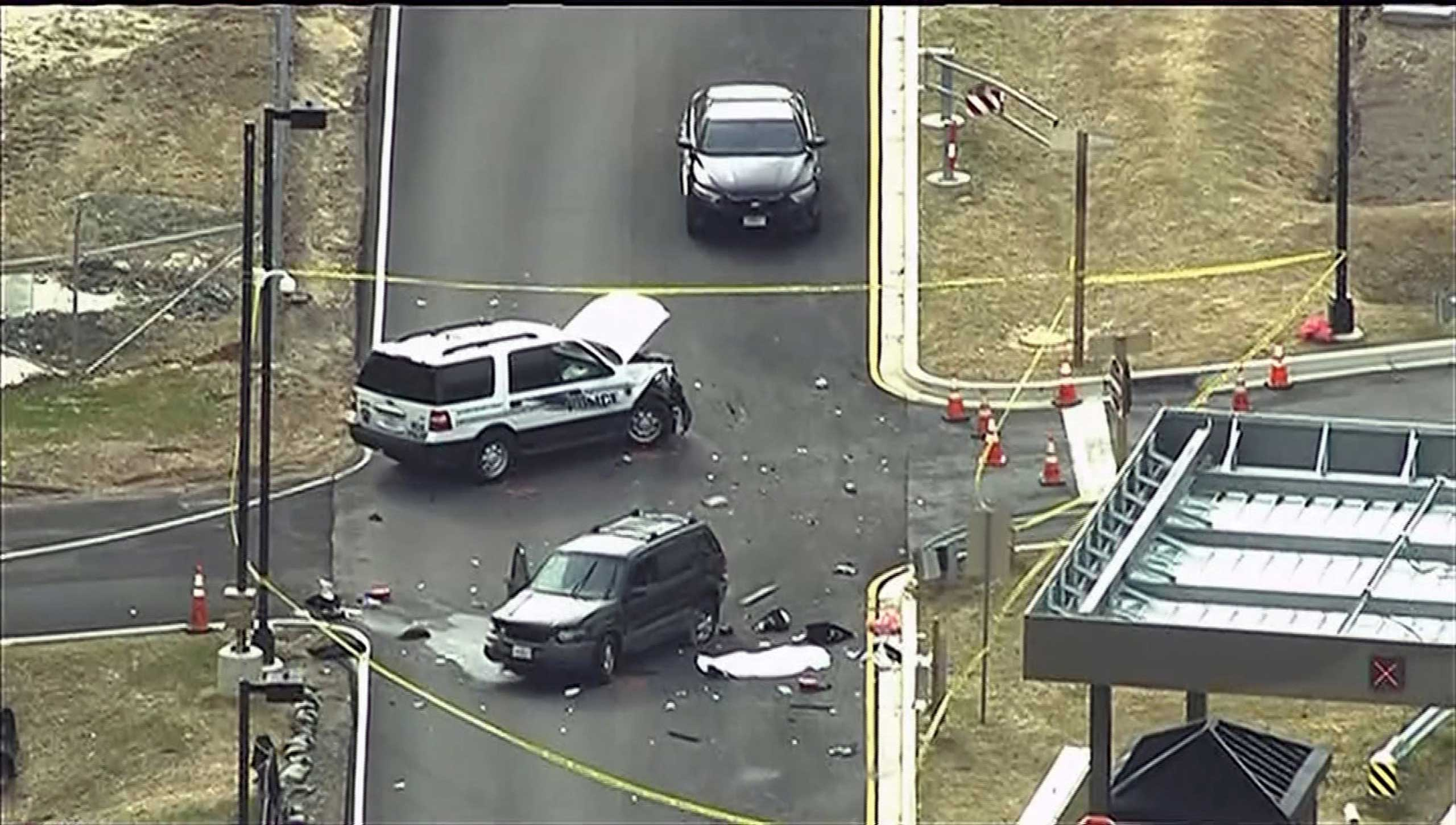 An aerial view of a shooting scene at the National Security Agency at Fort Meade in Maryland is pictured in this still image take from video, March 30, 2015.