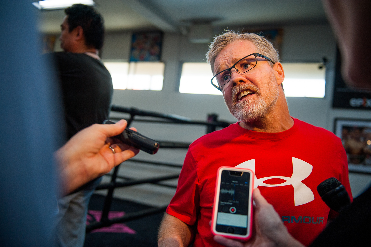 Boxing trainer Freddie Roach talks with the media before a work out session at Wild Card Boxing Club on Feb. 17, 2015 in Hollywood.
