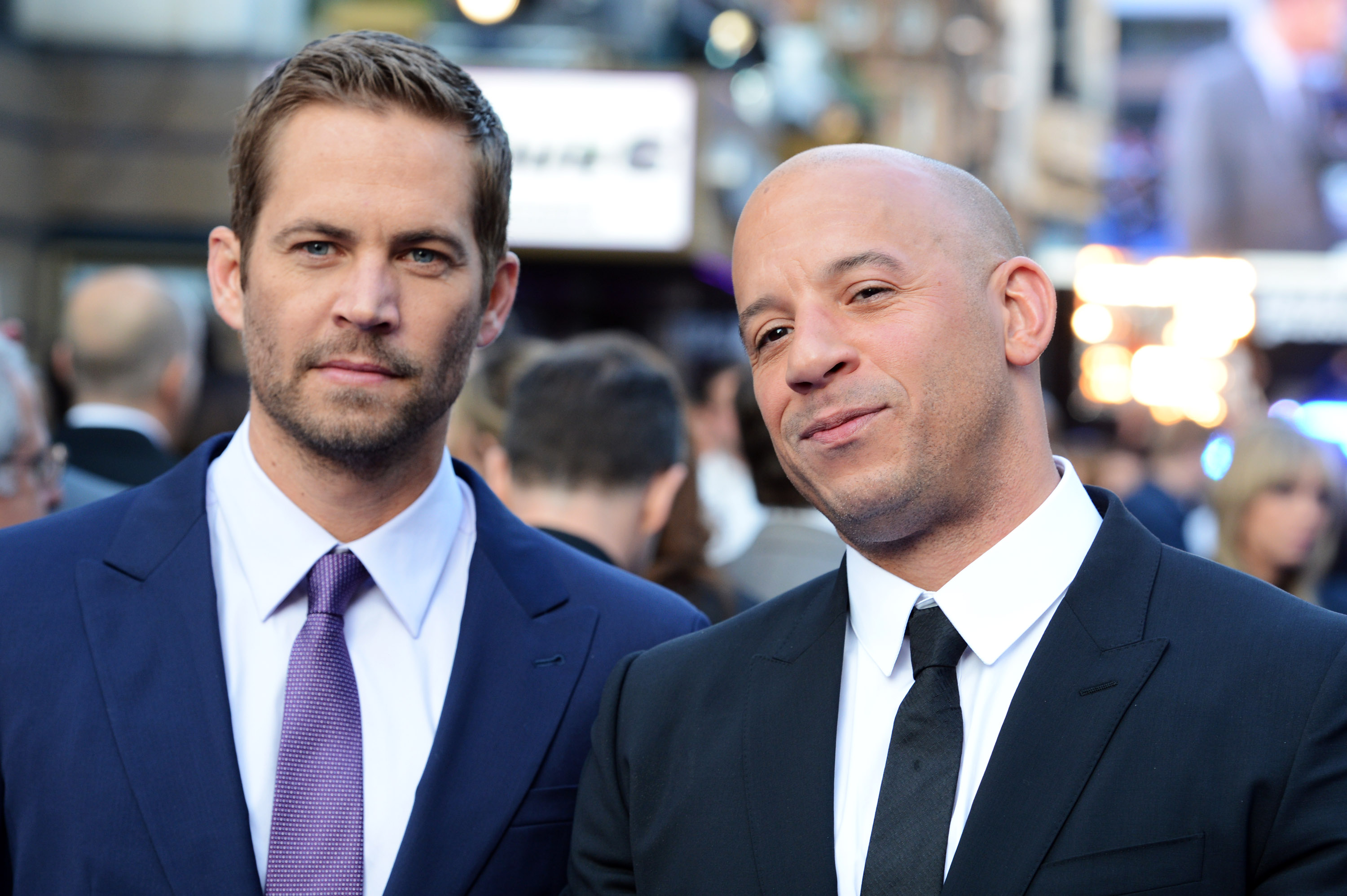 Paul Walker (L) and Vin Diesel attend the world premiere of 'Fast And Furious 6' at The Empire Leicester Square on May 7, 2013 in London, England.