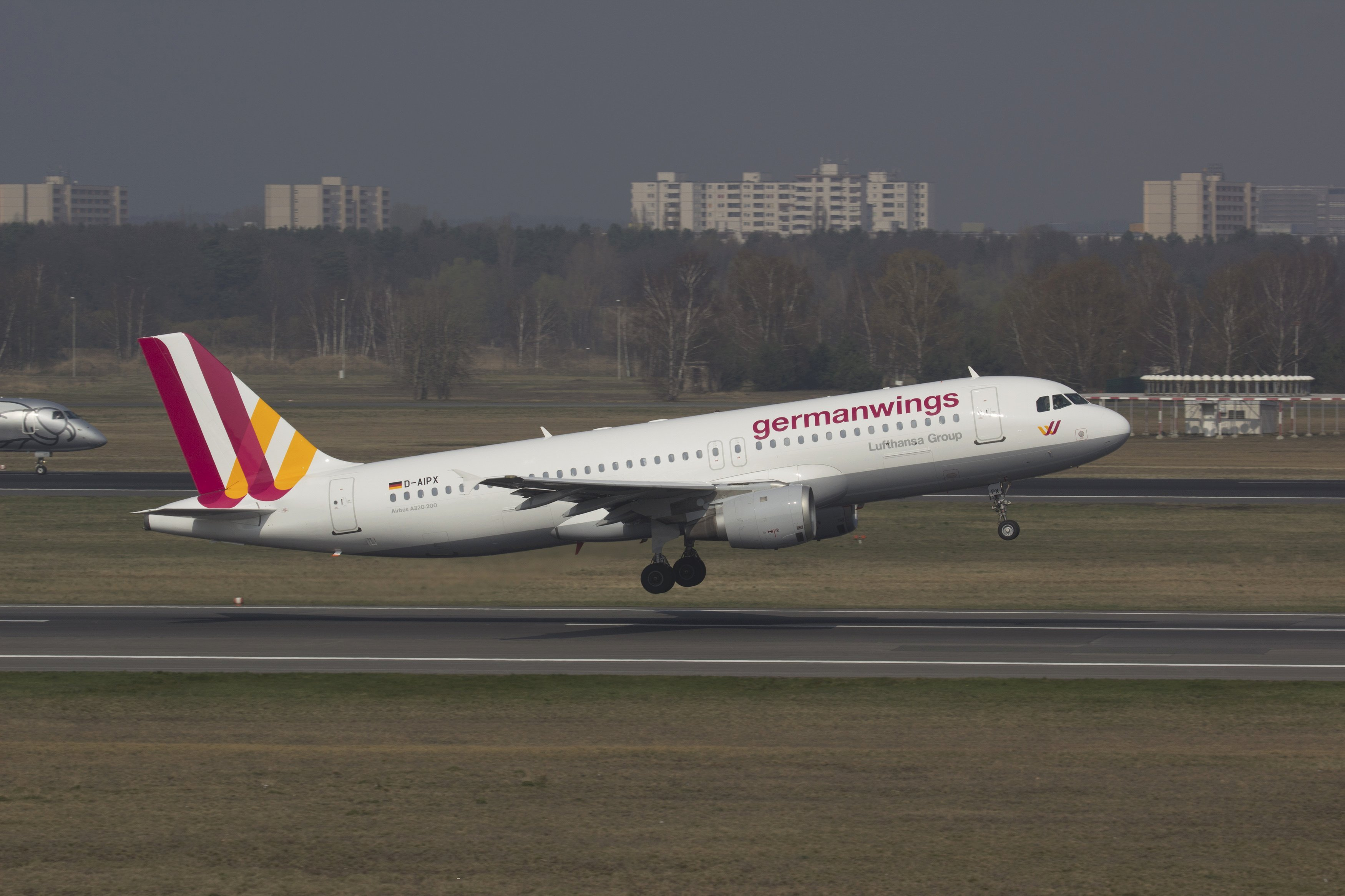A Germanwings Airbus A320 is seen at the Berlin airport, March 29, 2014. An Airbus plane of the same model crashed in southern France en route from Barcelona to Duesseldorf, on March 24, 2015 police and aviation officials said.
