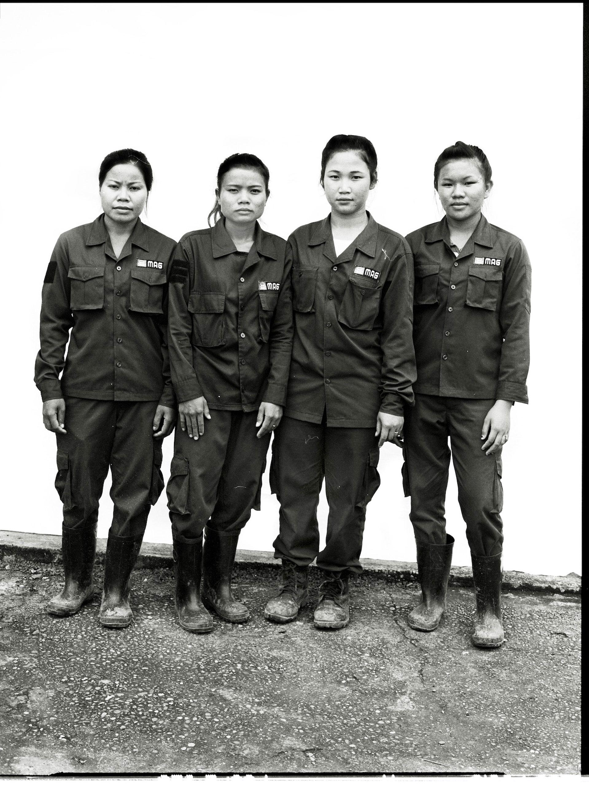 Laos 2014 A female MAG de-mining team.