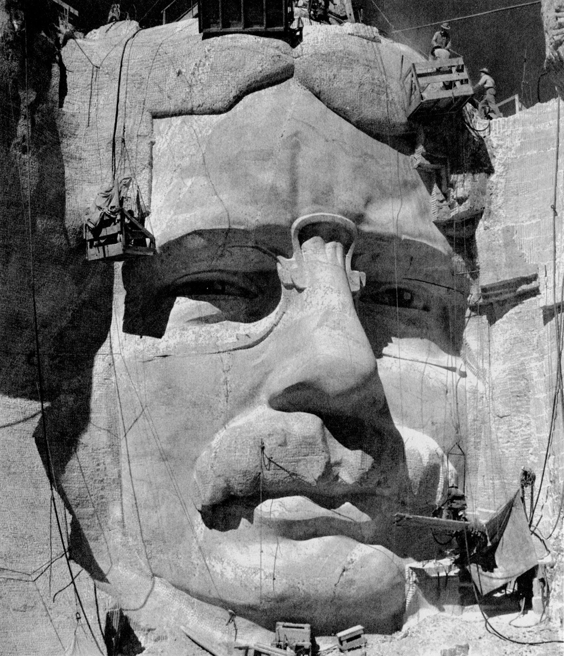 The head of Theodore Roosevelt under construction, c. 1930s. Roosevelt was dedicated in 1939.