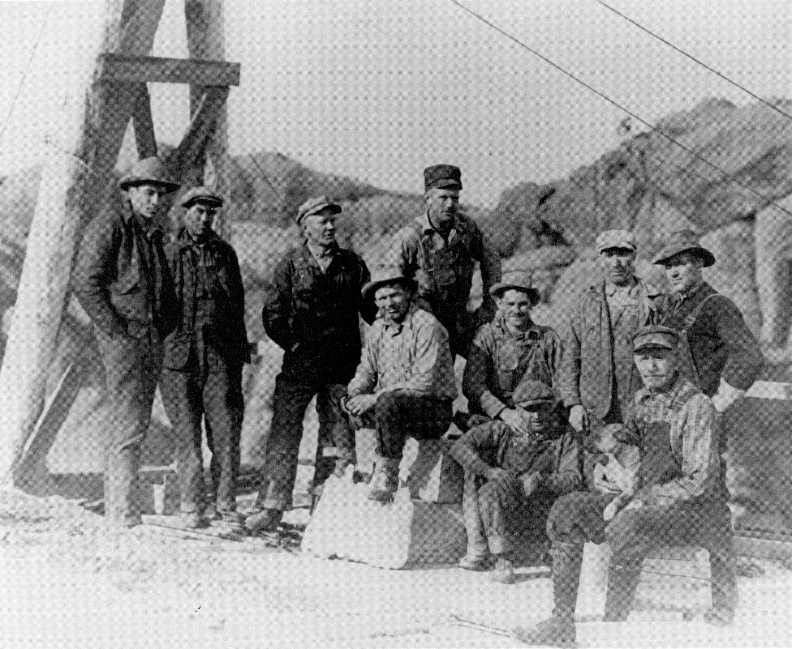 Workers take a break atop the mountain, c. 1930s.