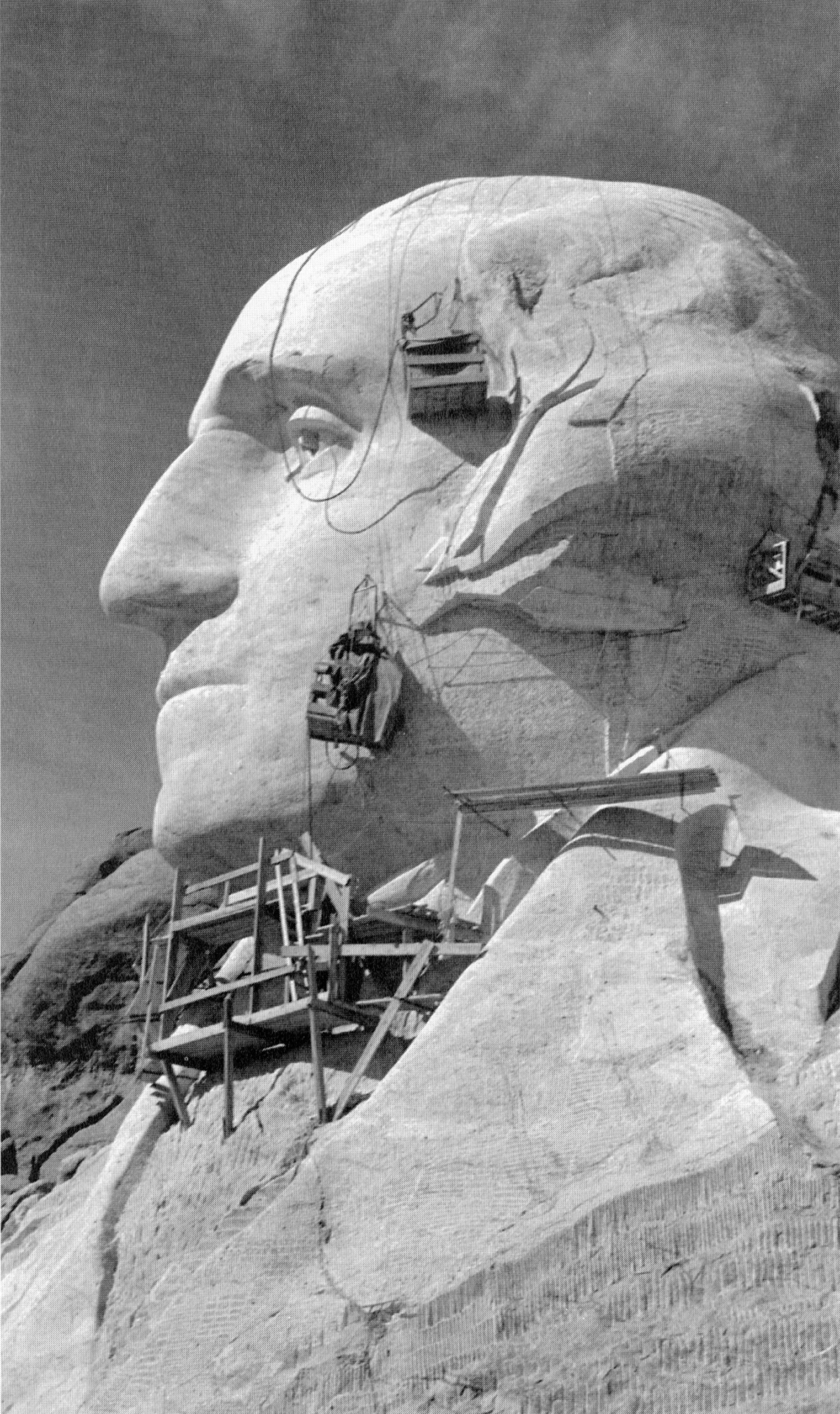 George Washington's face under construction, c. 1930s.