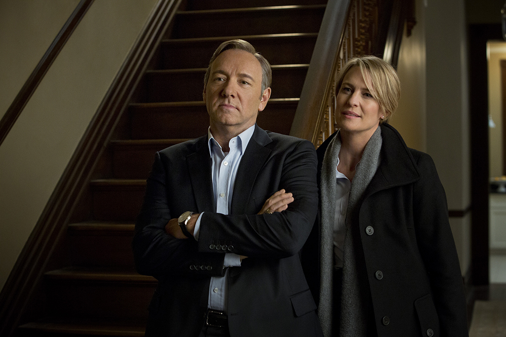Kevin Spacey (L) and Robin Wright (R) in the first season of Netflix's  House of Cards.