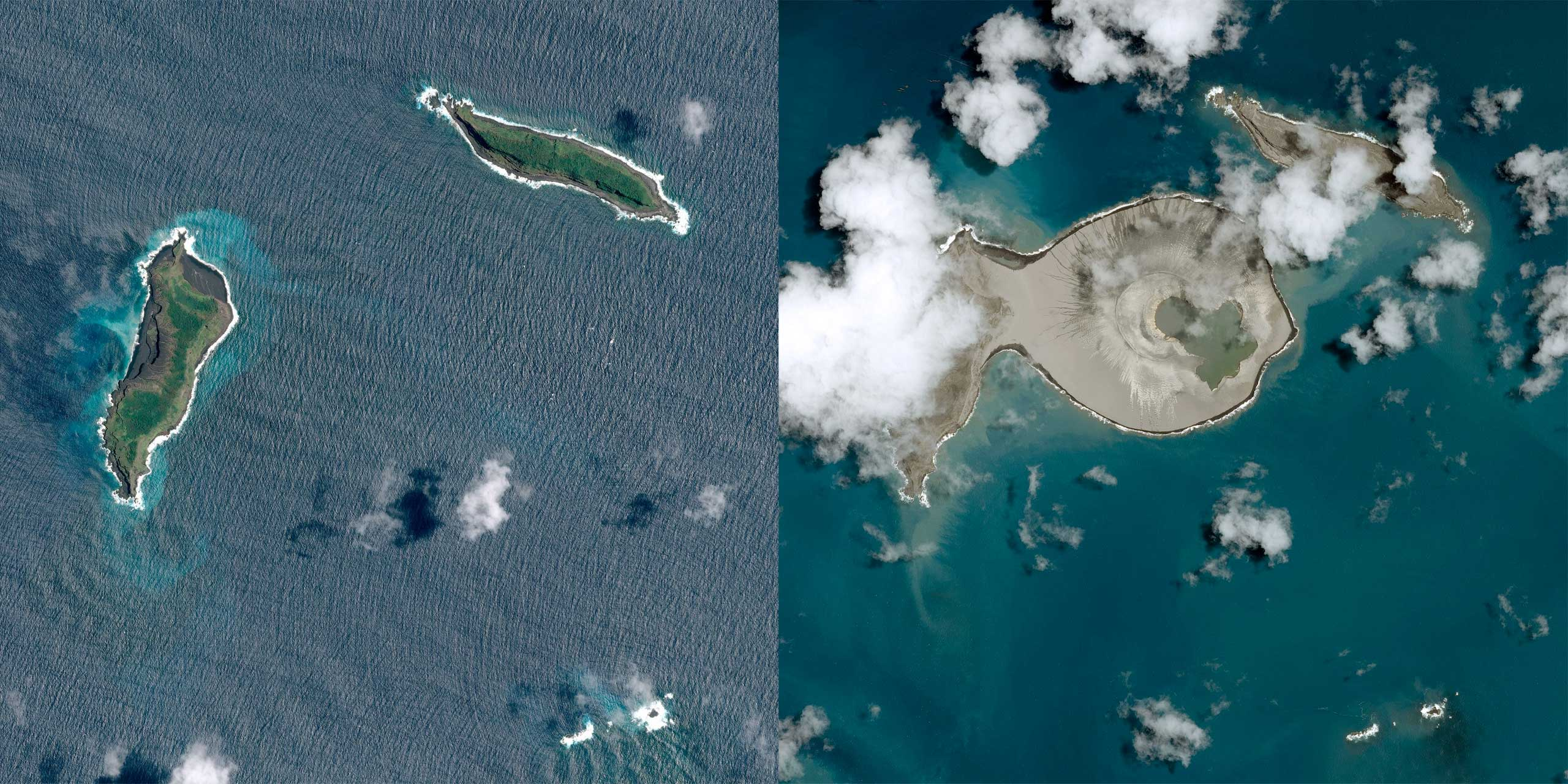 This diptych shows before and after satellite views of a new island, created when the island on the left fused with a volcanic crater, off the coast of Tonga. The pre-eruption satellite view before the island on the left became fused with the volcanic crater created by Hunga Tonga.