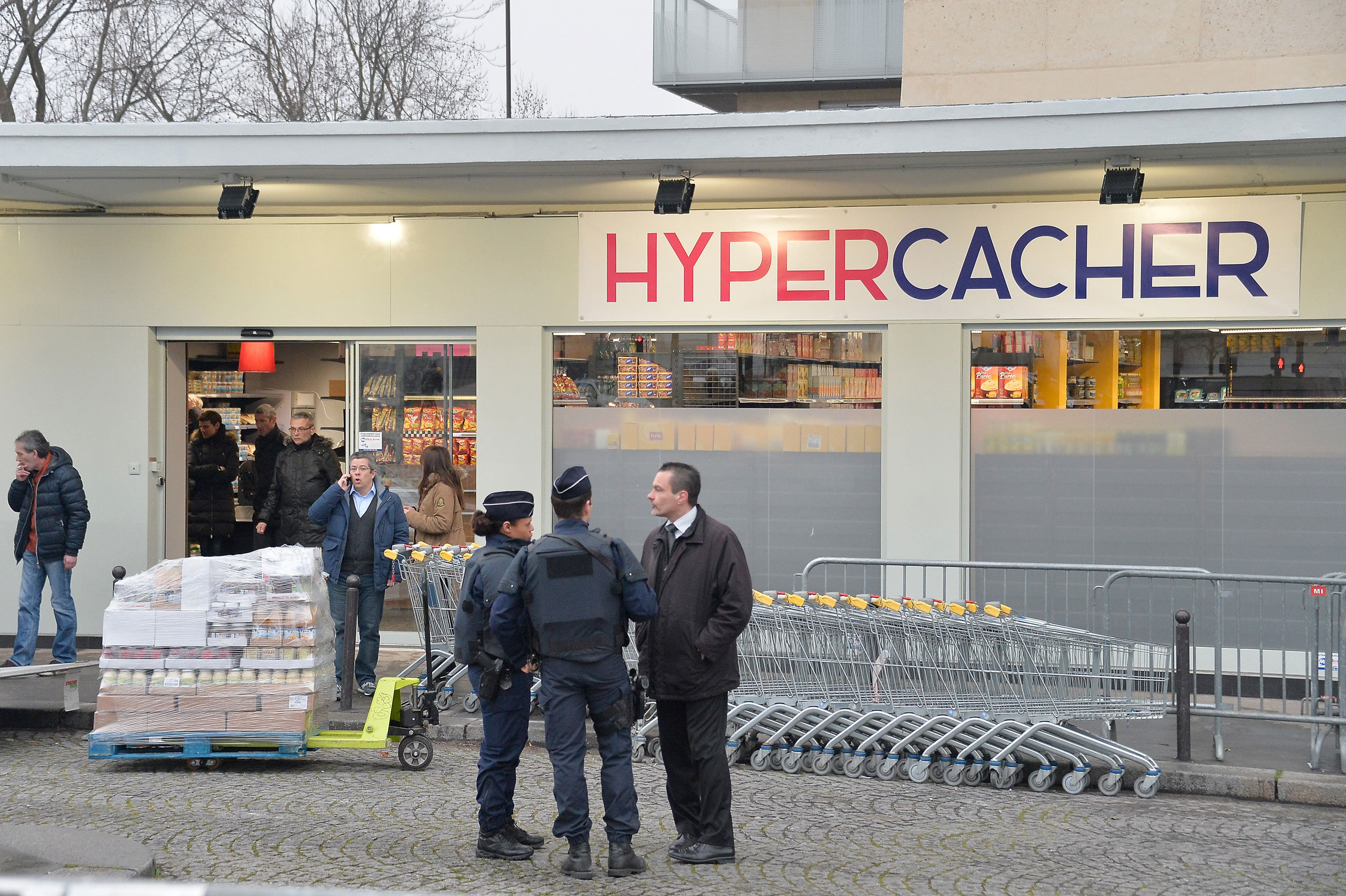 The Kosher supermarket Hyper Cacher, following its reopening, March 15, 2015 in Paris.