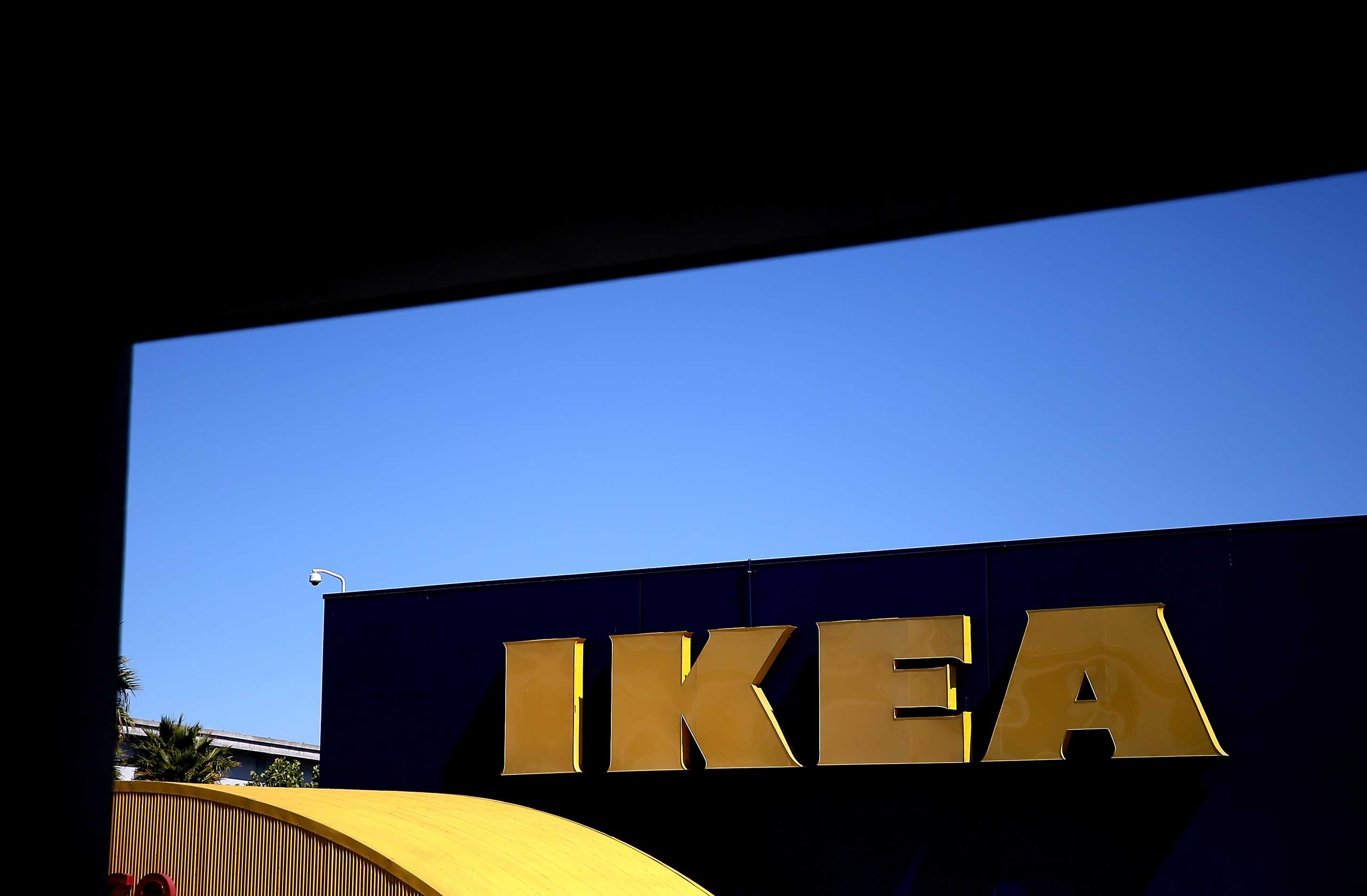 A sign is posted on the exterior of an IKEA store on June 26, 2014 in Emeryville, Calif.