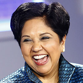 Indra Nooyi, Chairman and Chief Executive Officer of PepsiCo laughs during a session at the annual meeting of the World Economic Forum (WEF) in Davos on Jan. 24, 2014.
