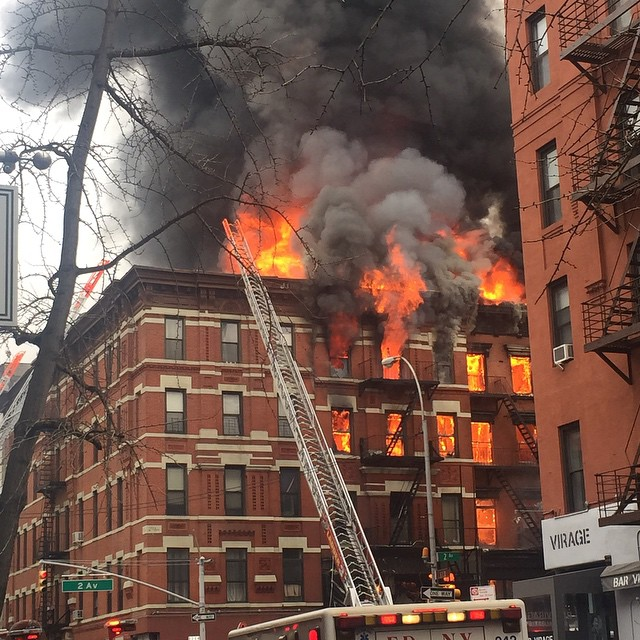 Henry Lihn posted this photo on Instagram of the building collapse and fire in the East Village section of New York City on March 26, 2015.