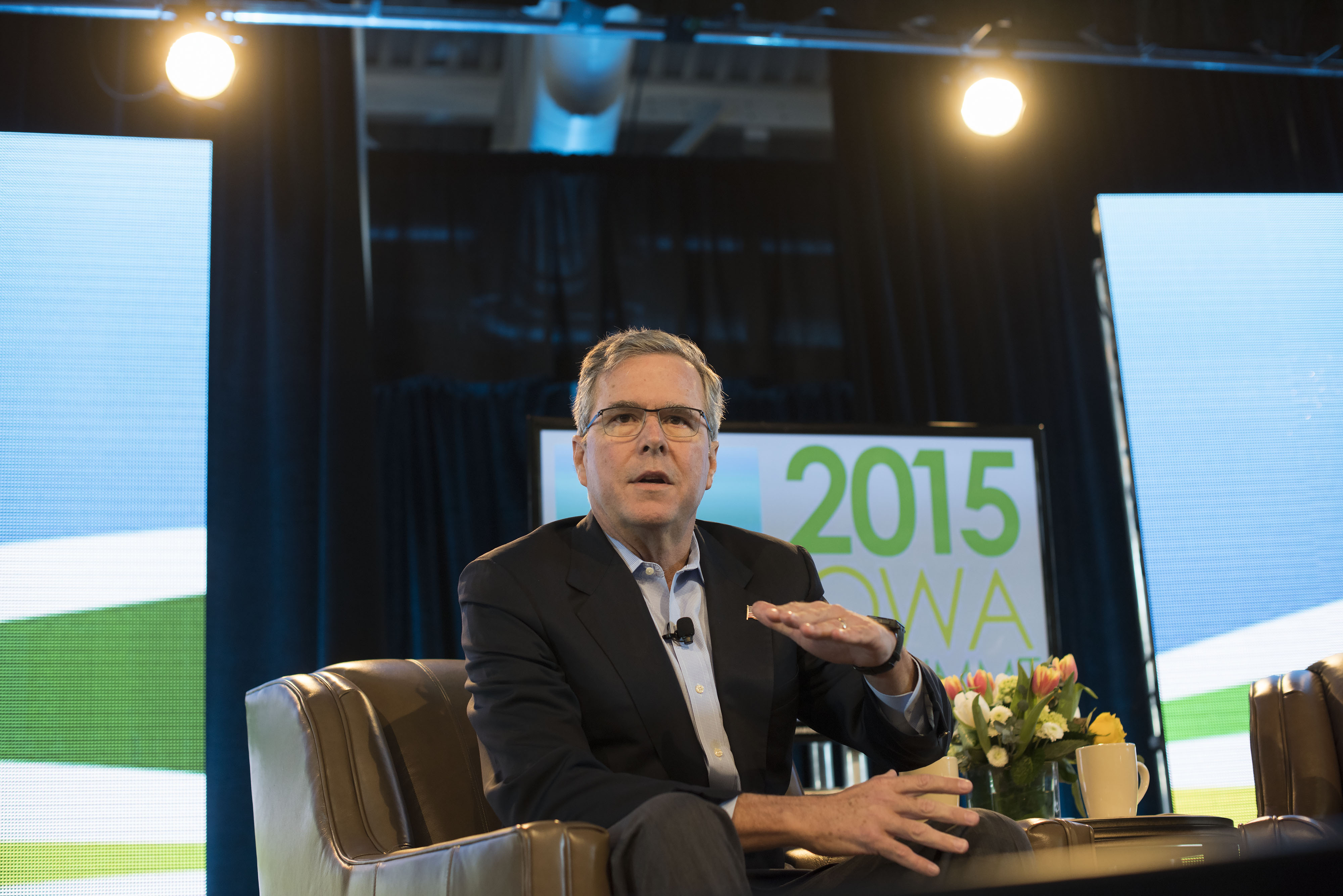 Jeb Bush, former governor of Florida, speaks during the Iowa Ag Summit at the Iowa State Fairgrounds in Des Moines, Iowa on March 7, 2015