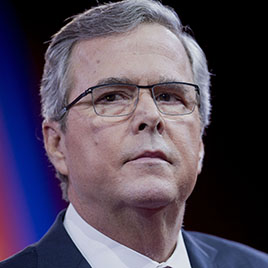 Jeb Bush, former governor of Florida, listens to a question during an interview with Sean Hannity at (CPAC) in National Harbor, Md. on Feb. 27, 2015.