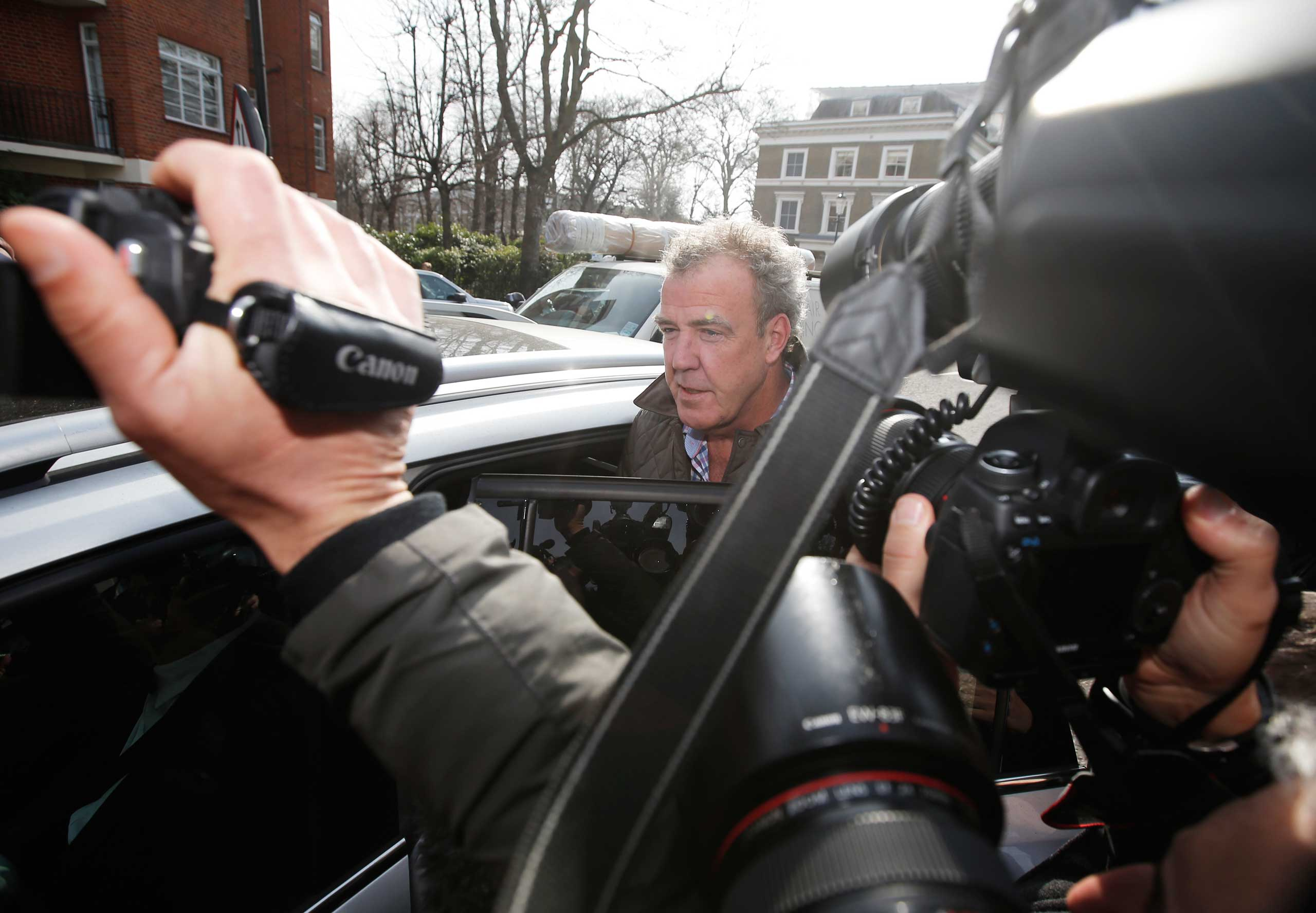 Jeremy Clarkson is mobbed by journalists in London, March 11, 2015.