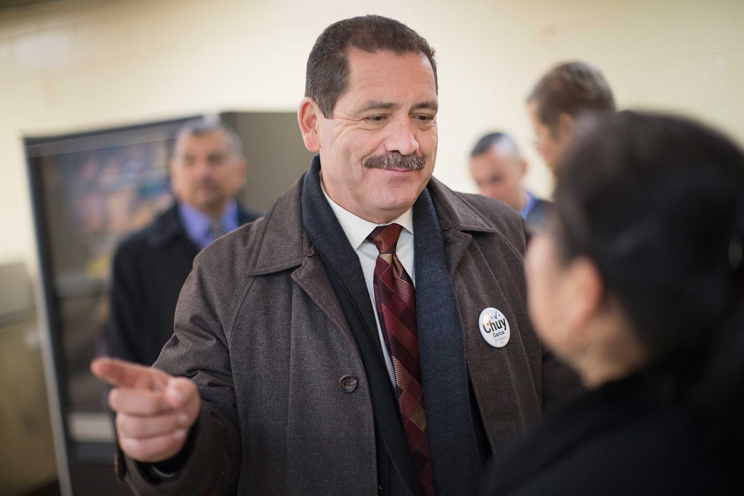 Chicago Mayoral candidate Jesus  Chuy  Garcia greets workers during a campaign stop at a linen and uniform service company on Feb. 23, 2015 in Chicago.