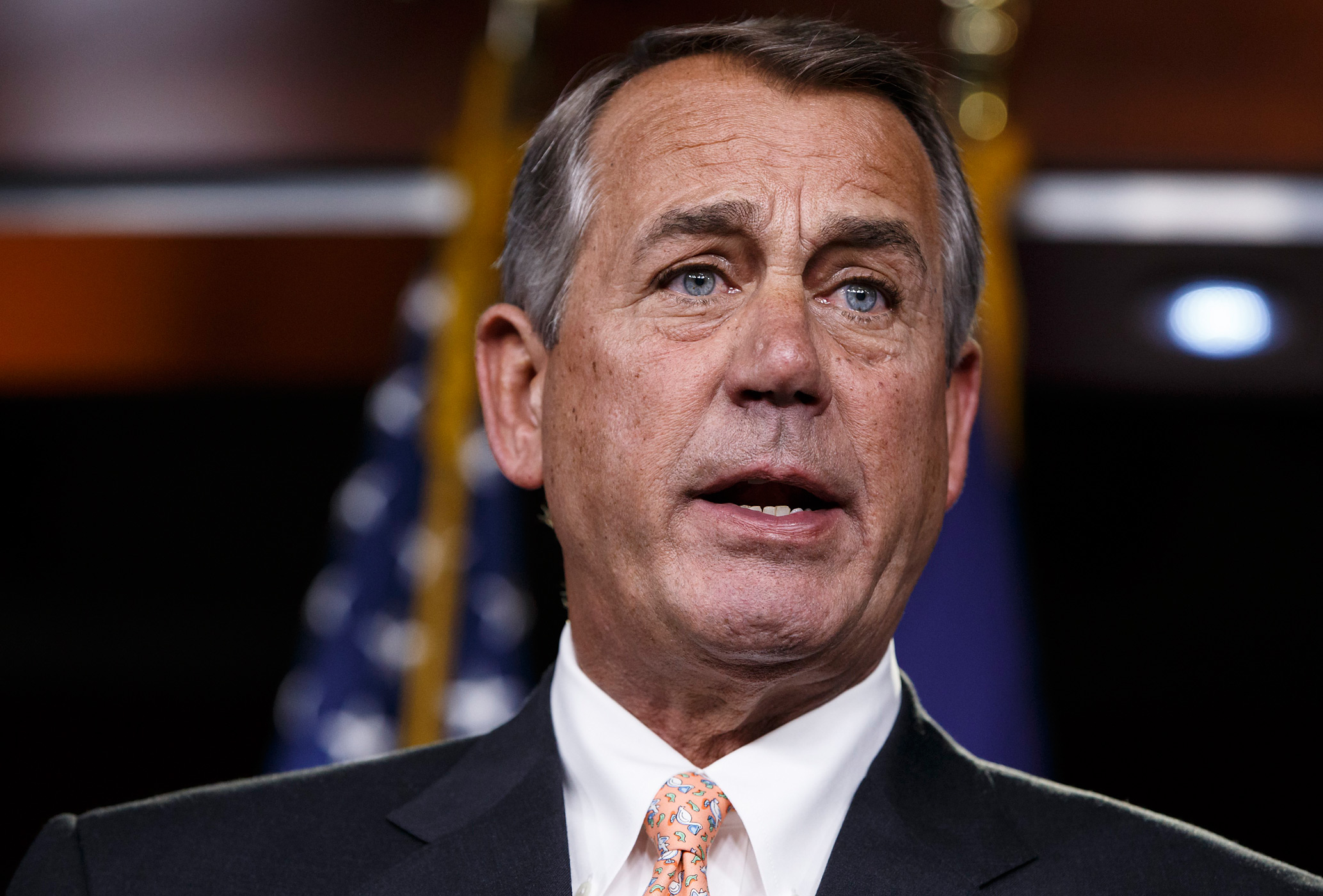 Speaker of the House John Boehner responds to reporters about the impasse over passing the Homeland Security budget because of Republican efforts to block President Barack Obama's executive actions on immigration, at the Capitol in Washington on Feb. 26, 2015.
