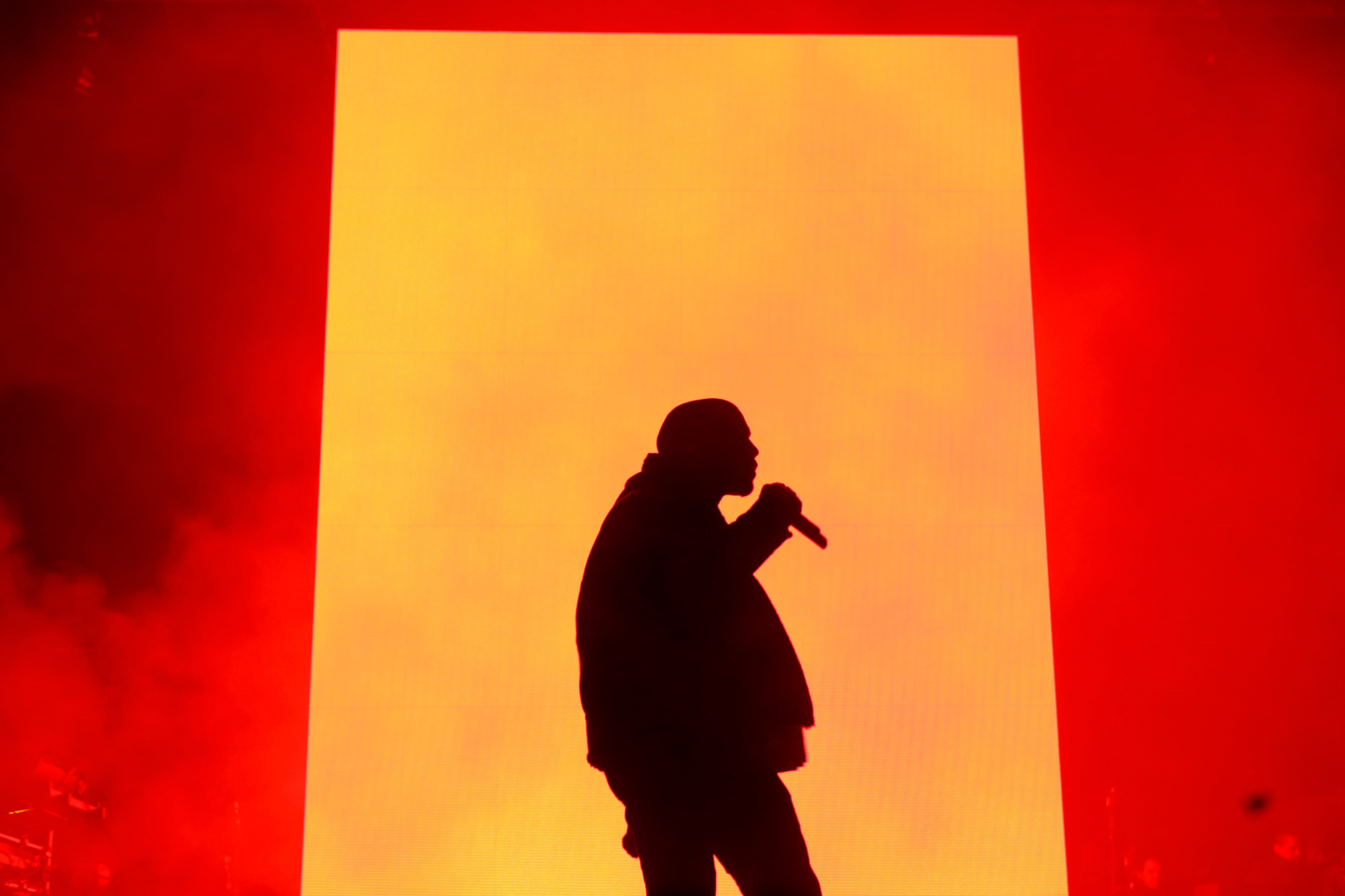 Kanye West performs during ROC NATION SPORTS 1st Annual Roc City Classic starring Kevin Durant x Kanye West on Feb. 12, 2015 in New York City.