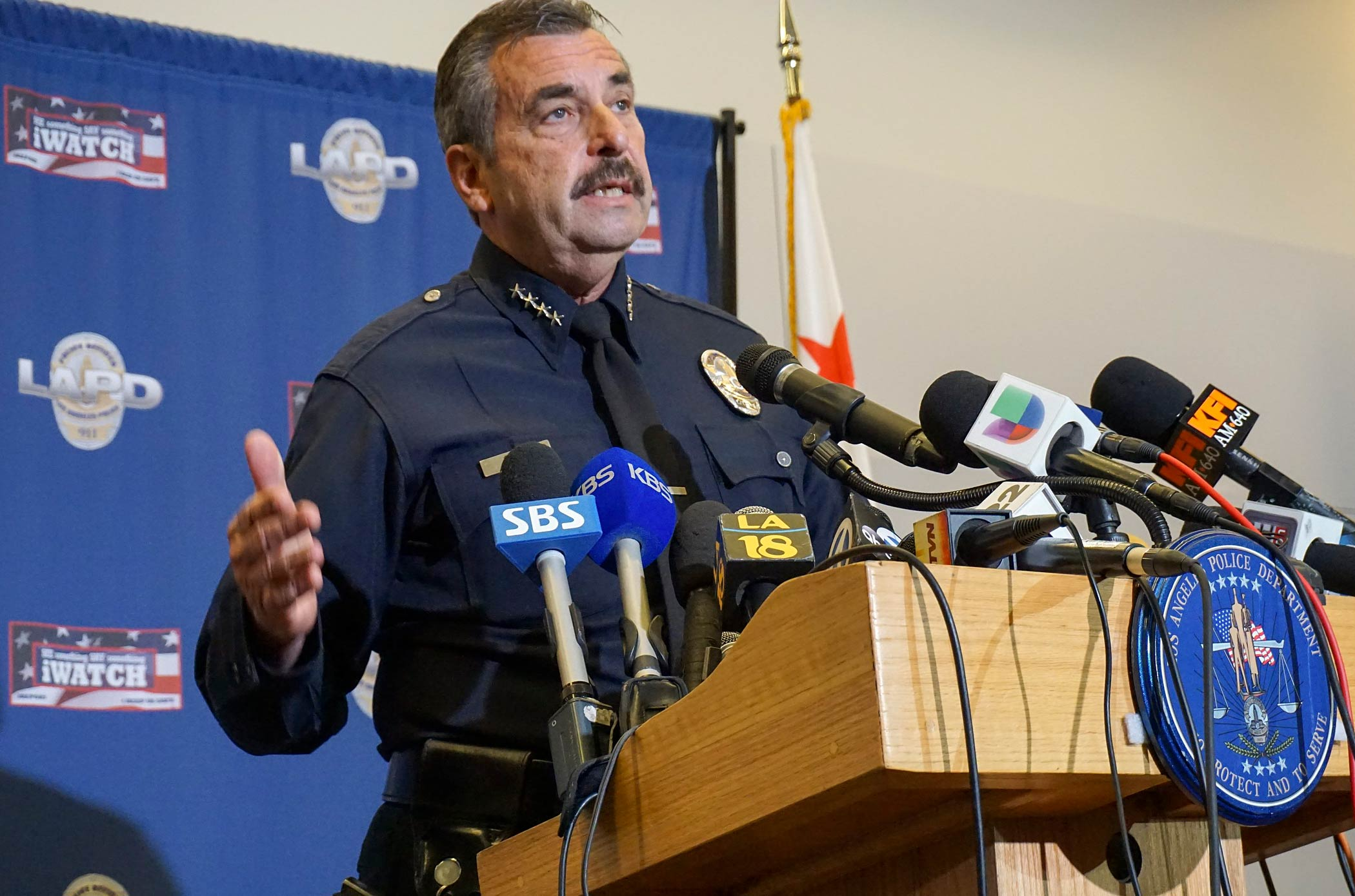 Los Angeles Police Chief Charlie Beck comments on the shooting of a homeless man on Skid Row of  Los Angeles, at a news conference at police headquarters on March 2, 2015.