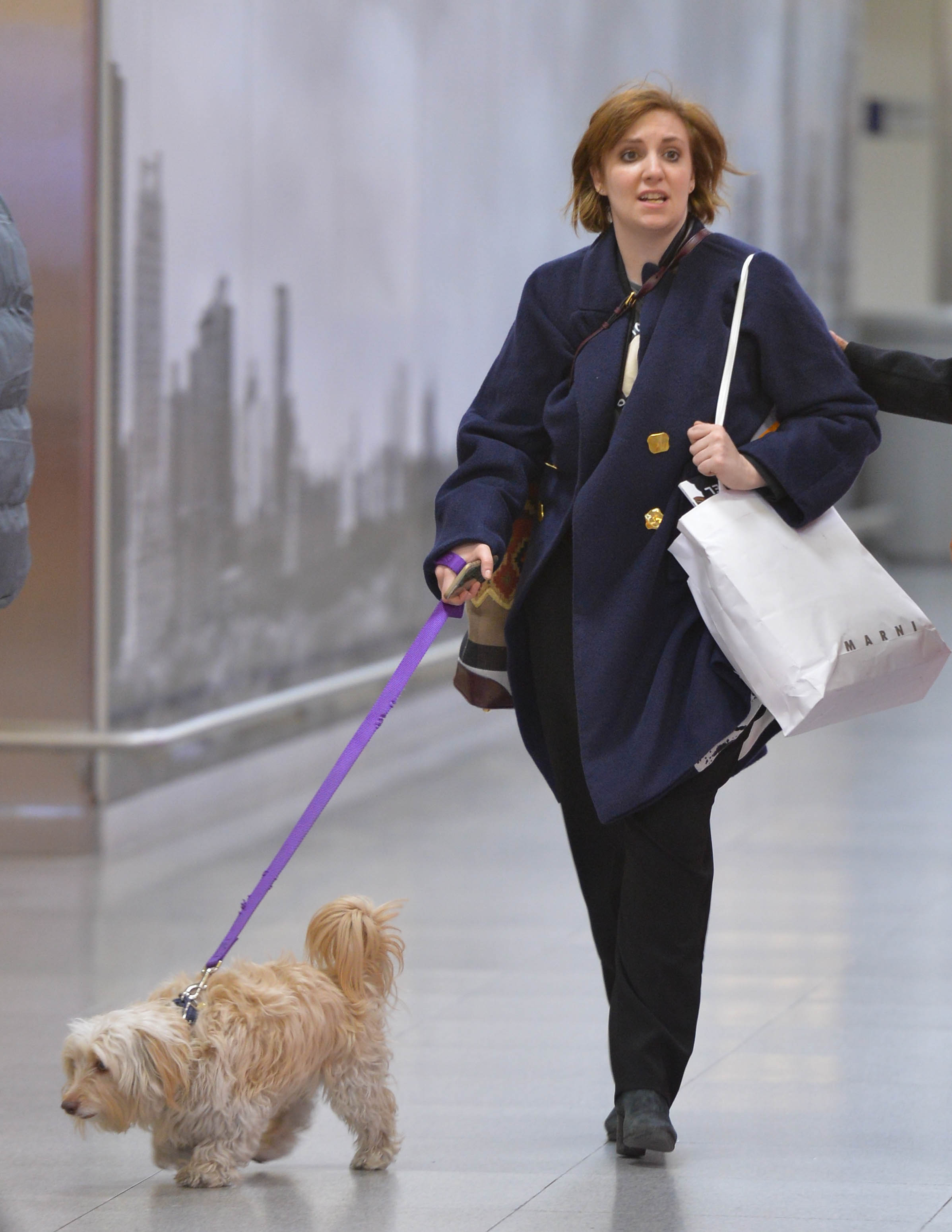Lena Dunham seen at JFK on March 15, 2015 in New York City.