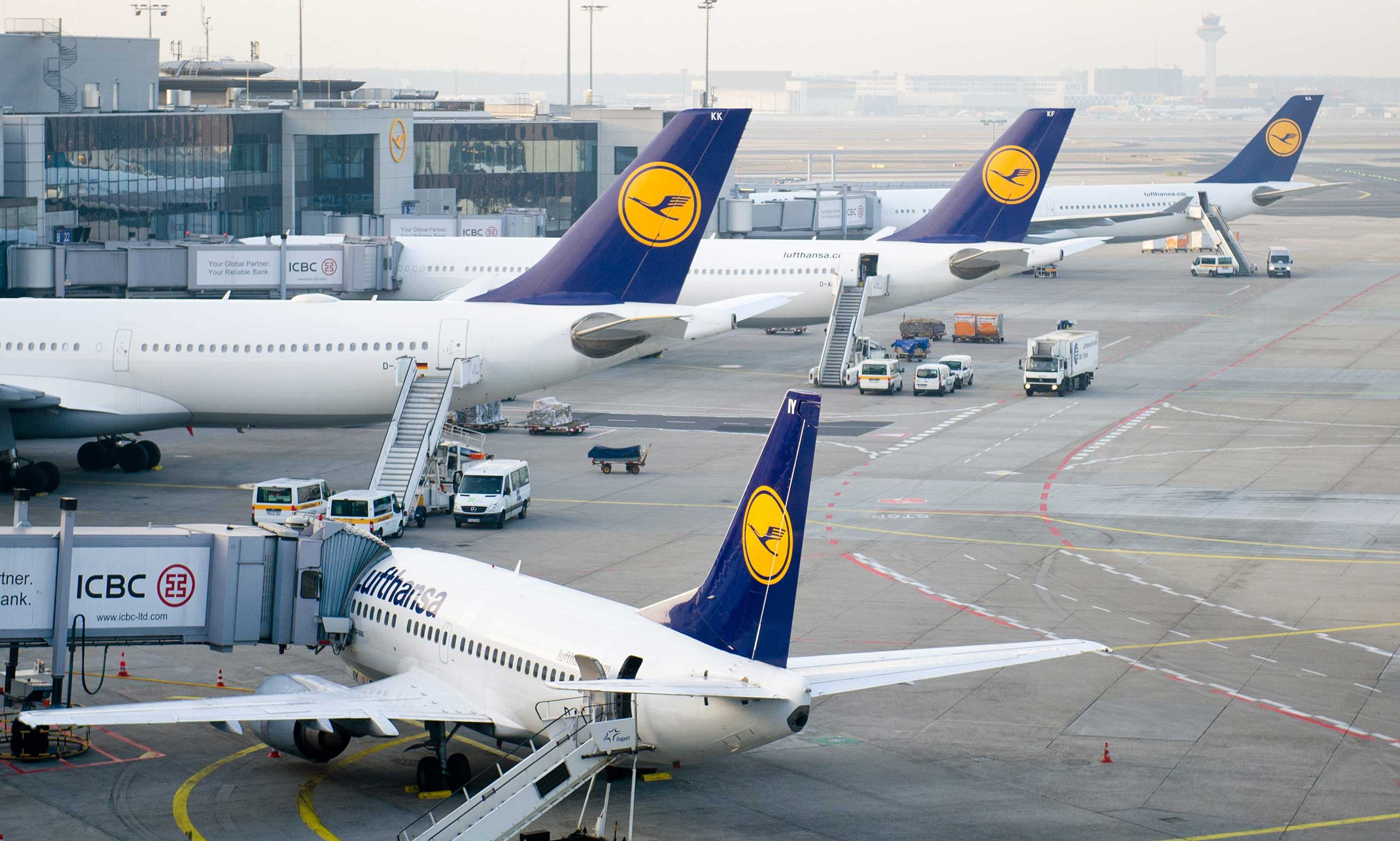 Short-haul and long-haul Lufthansa aircrafts stand at the airport in Frankfurt, Germany on March 18, 2015.
