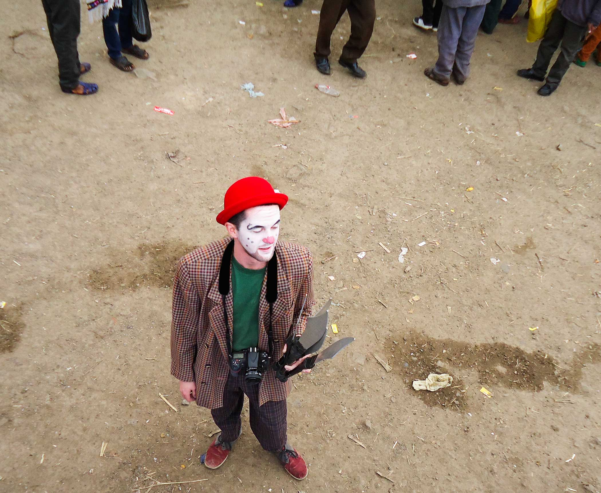 Lukas Berger dressed as a clown at the Circus Debere Berhan in Ethiopia.