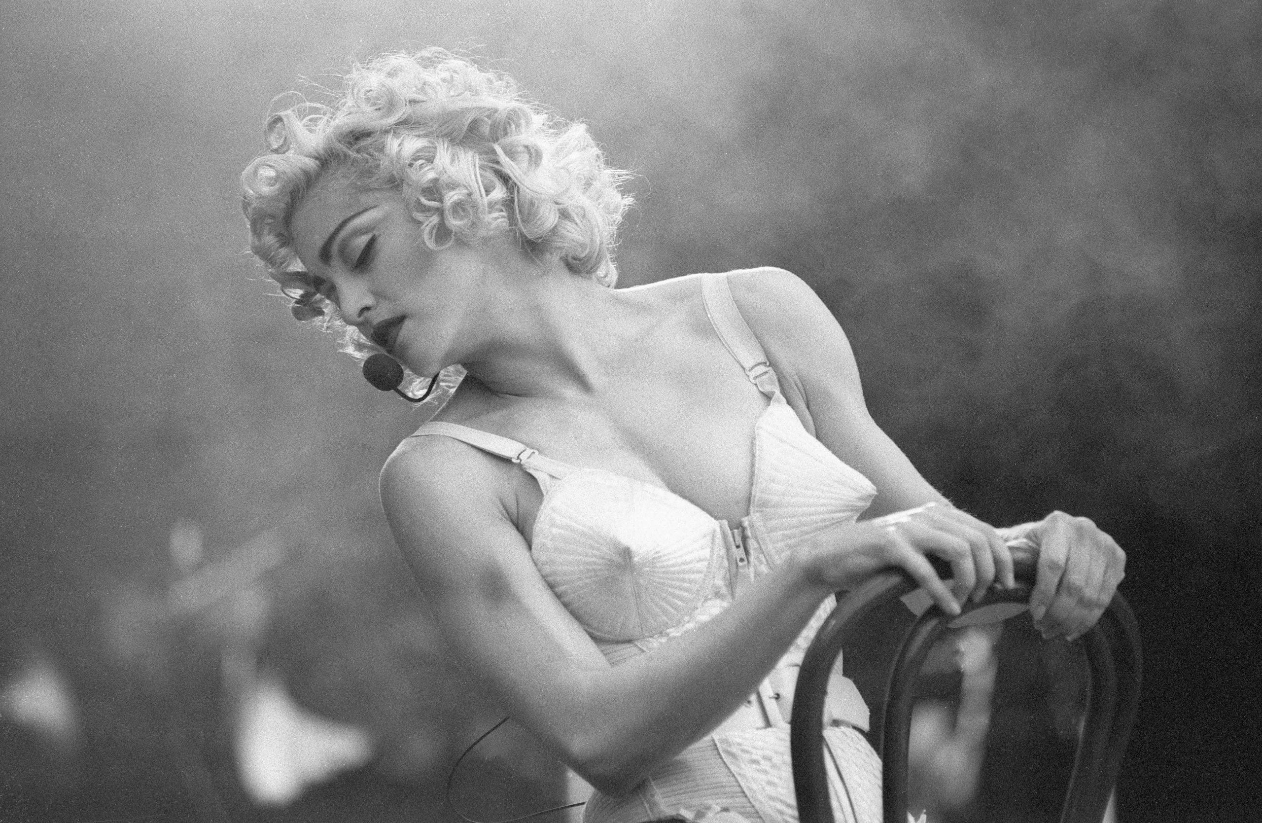 Madonna performs at Feijenoord Stadium in Rotterdam, Netherlands in 1990.