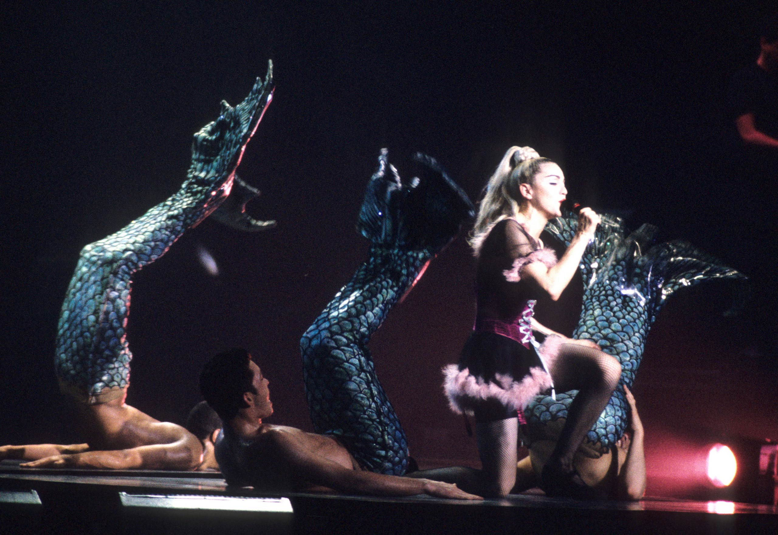 Madonna during  her Blond Ambition World Tour in 1990.