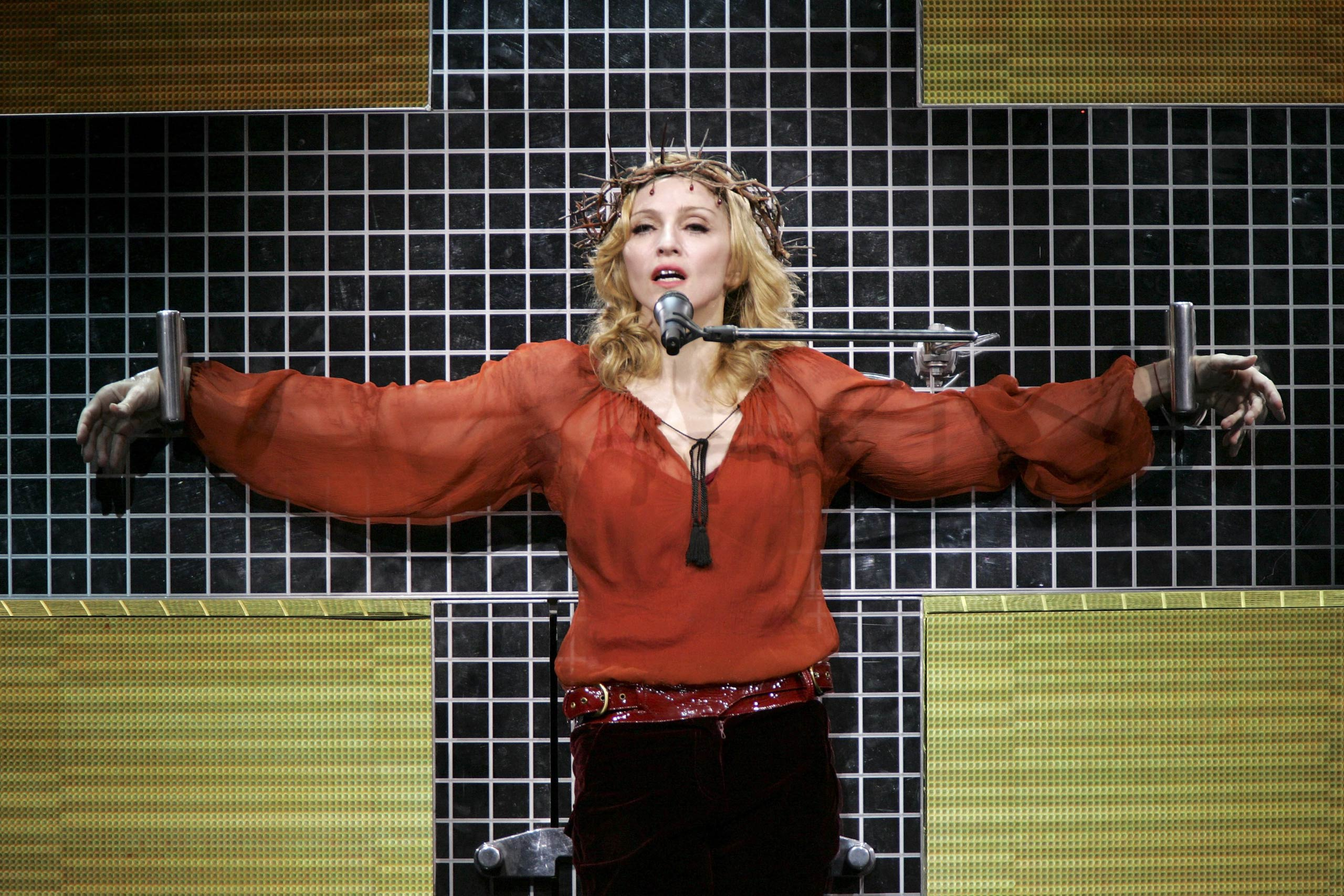 Madonna performs at the Wembley Arena in London, England in 2006.