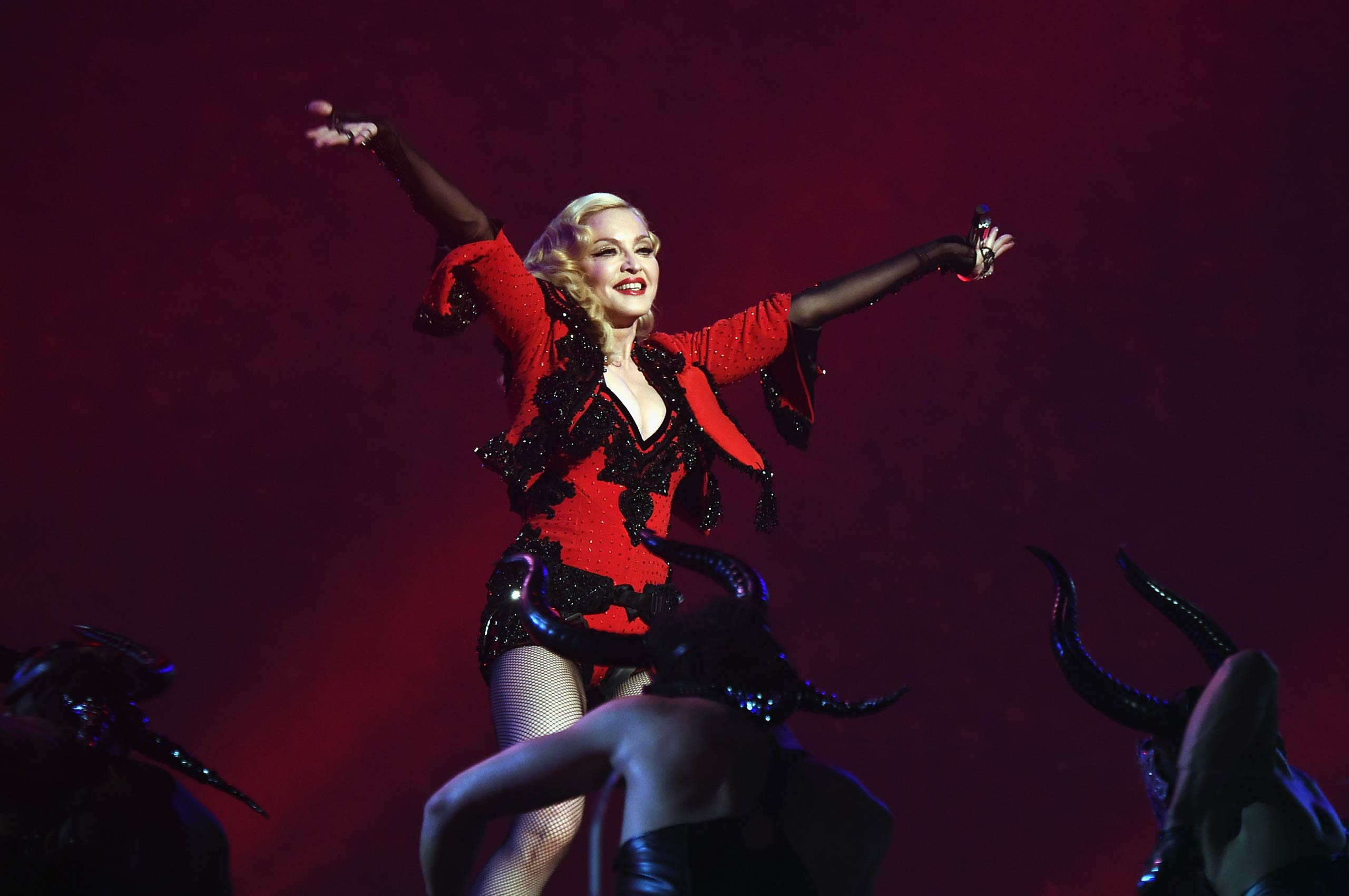 Madonna performs onstage during The 57th Annual GRAMMY Awards at the STAPLES Center on February 8, 2015 in Los Angeles, Calif.