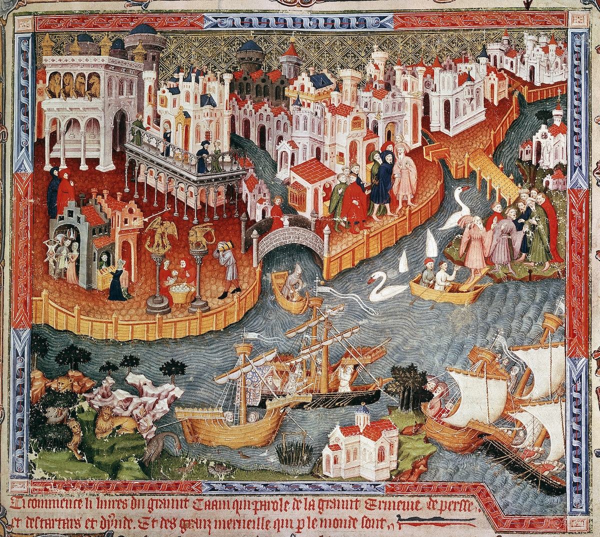 Marco Polo sailing from Venice in 1271. From a late 15th century illuminated manuscript in the collection of the Bodleian Library, Oxford.