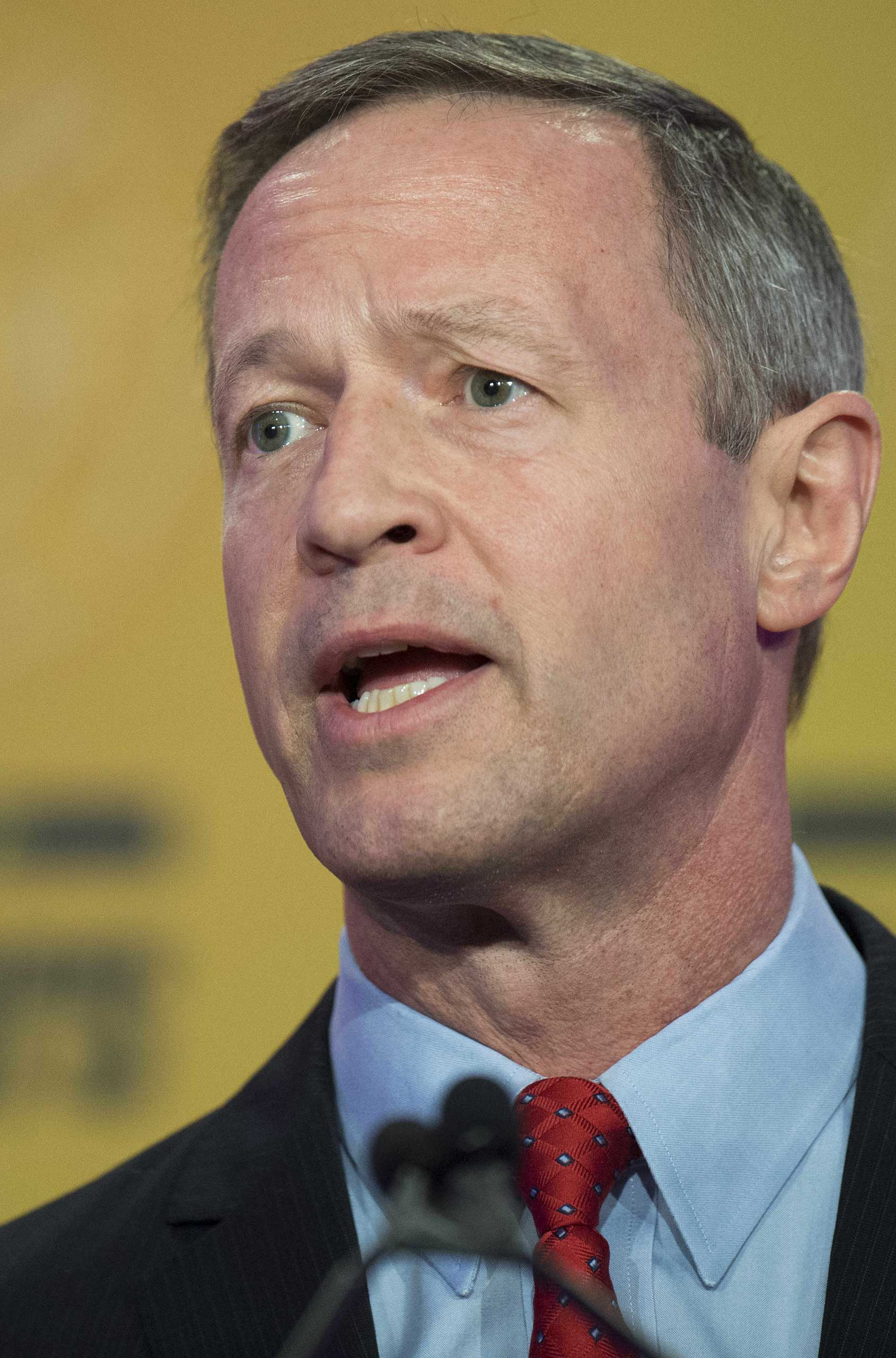 Former Democratic Maryland Governor Martin O'Malley addresses the 2015 International Association of Fire Fighters (IAFF) Alfred K. Whitehead Legislative Conference and Presidential Forum in Washington, DC, March 10, 2015.