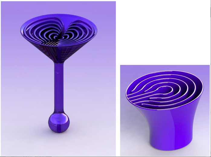 The design for a space-friendly cocktail glass and drinking glass are seen from the Zero Gravity Cocktail Project kickstarter campaign