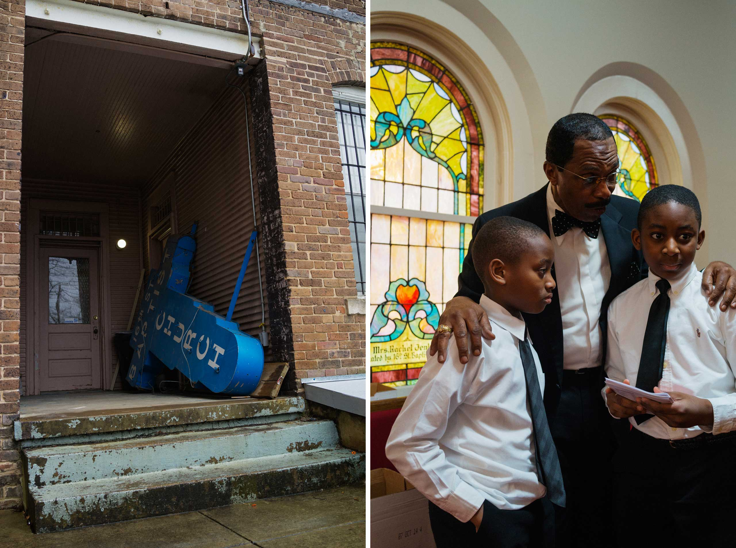 "Left: The old sign from 16th Street Baptist Church in Birmingham, Ala. Right: A deacon gives instructions to two young greeters at 16th Street Baptist Church in Birmingham, Ala. on March 22, 2015.                                                                                                                                            The church, an icon of the Civil Rights movement,  is struggling to keep up attendance. Pastor Arthur Price says he tries to relate the deadly 1963 bombing at the church by white supremacists and the current mission. ""Because of the tragedy, triumph took place—the '64 passage of the Civil Rights Act and the '65 passage of the Voting Rights Act, which galvanized a generation and motivated a movement so change would be continuous throughout the ages,"" he says. ""I believe the early pioneers of the Civil Rights movement continued to move forward because they didn't want that innocent blood to be taken in vain."""