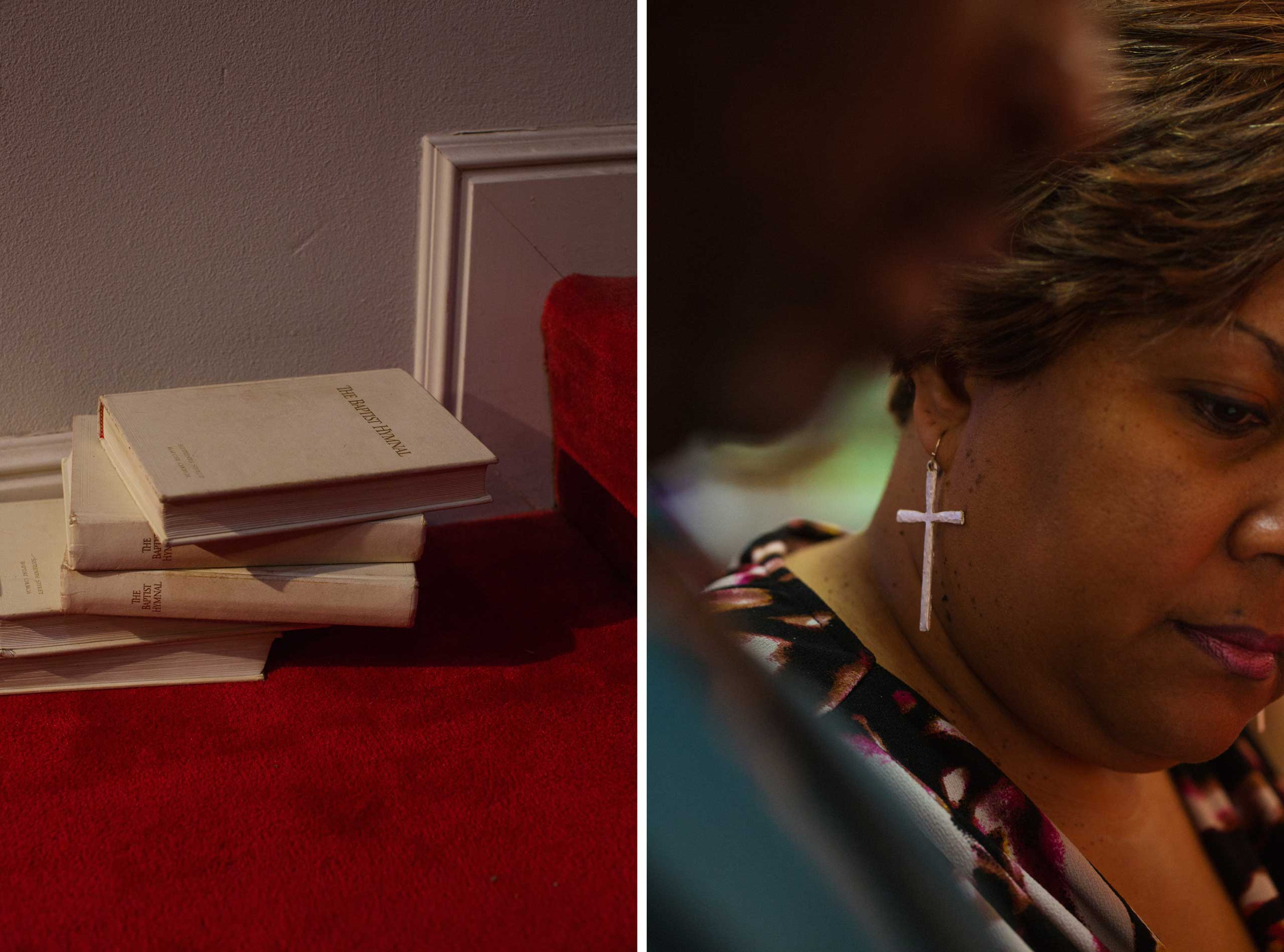Left: A stack of hymnals at 16th Street Baptist Church. Right: A woman wears cross earrings during a service