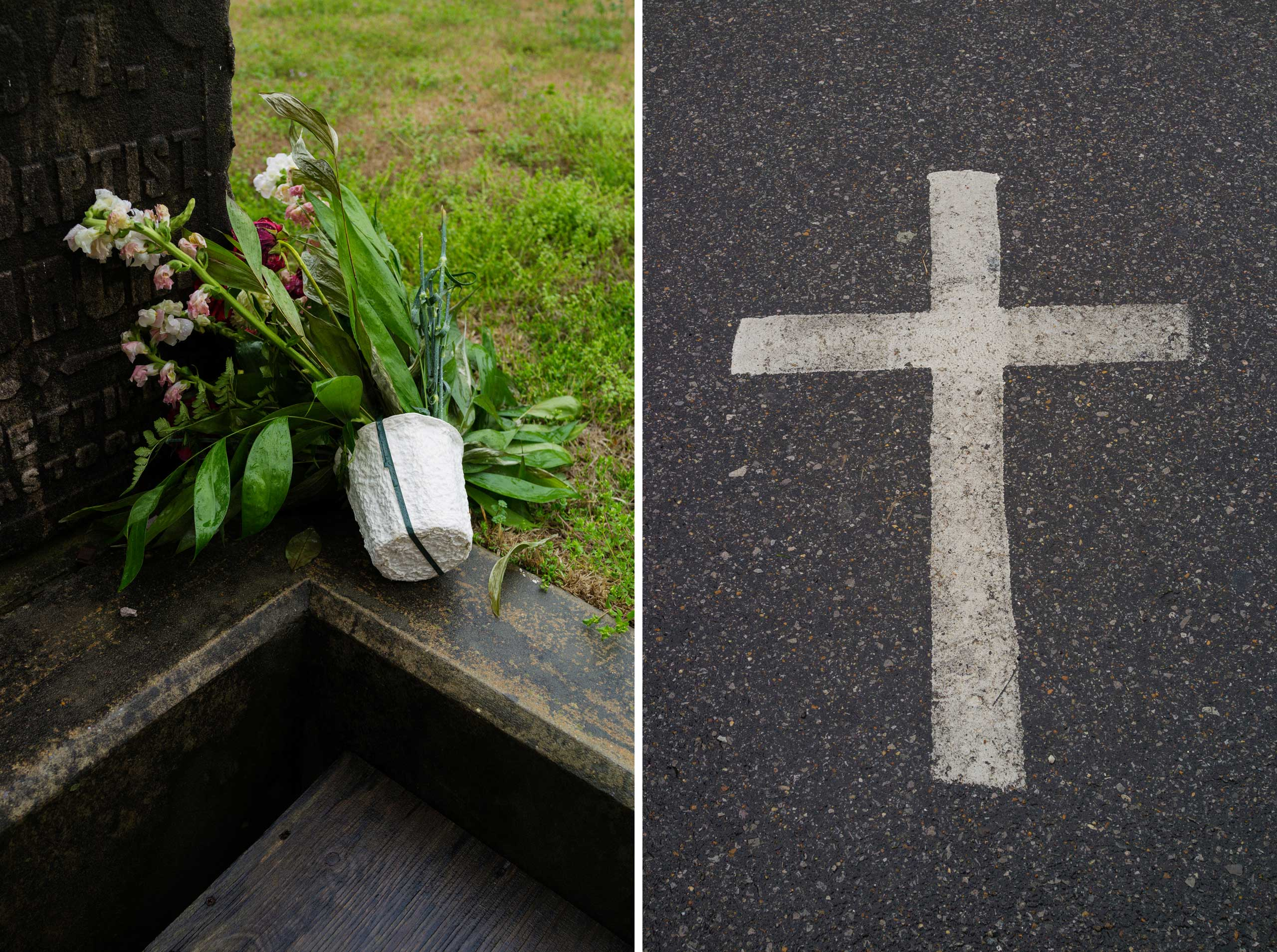 Left: Flowers at the cornerstone of the 16th Street Baptist Church. Right: A cross marks a parking spot outside the church